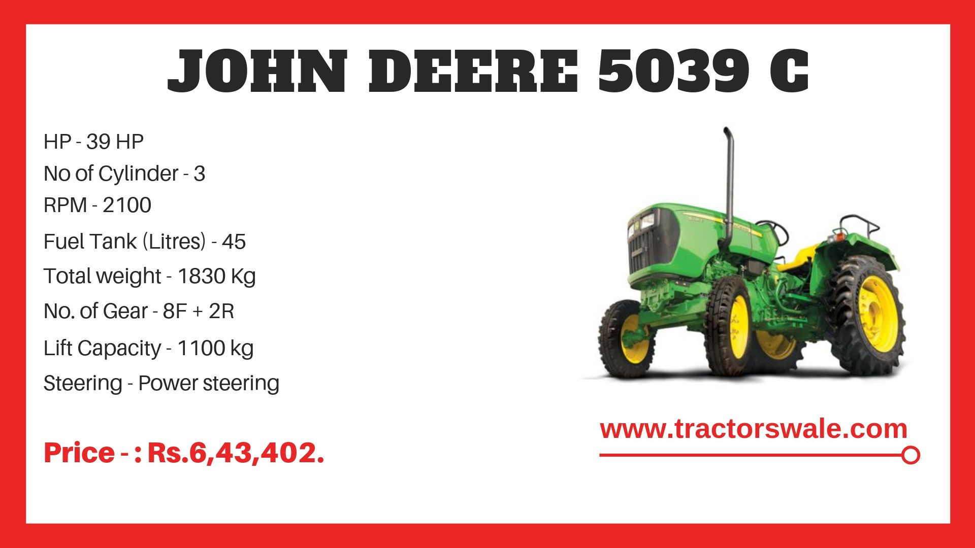 John Deere 5039 C Specifications