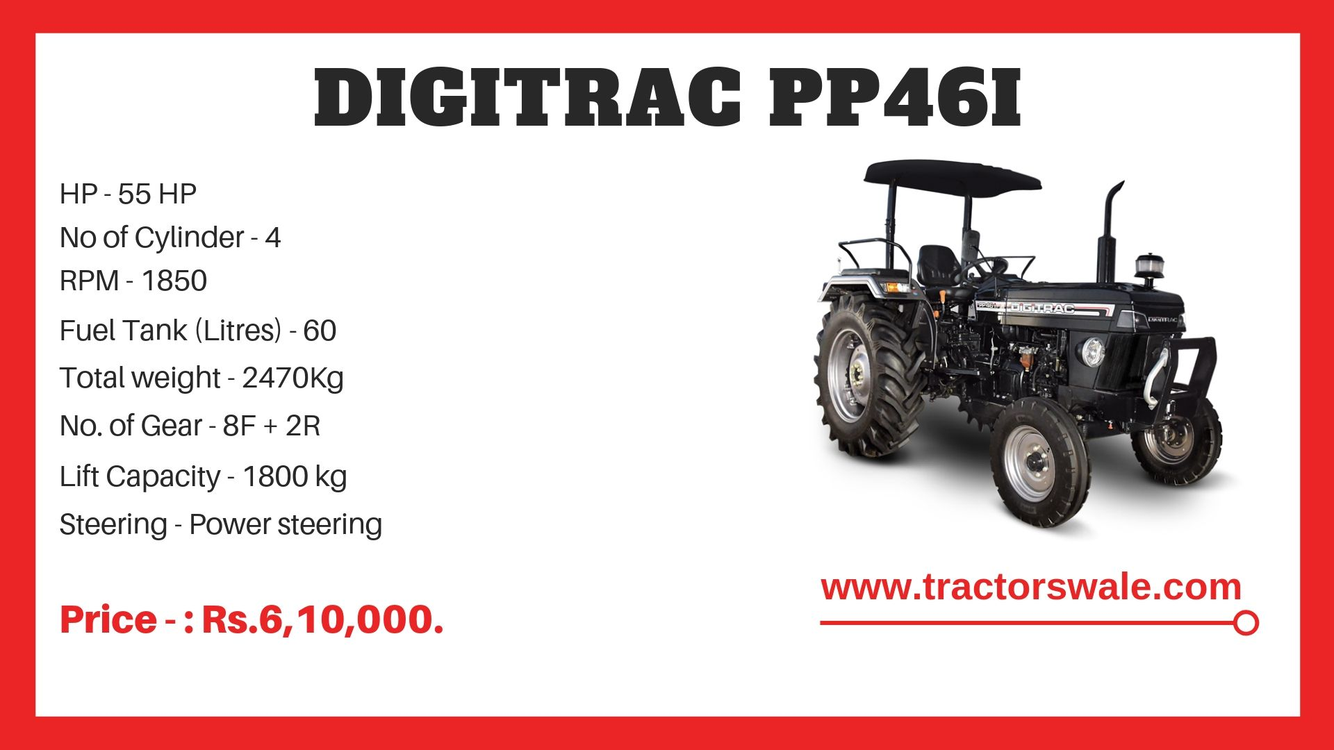 Digitrac PP46i Tractor Specifications