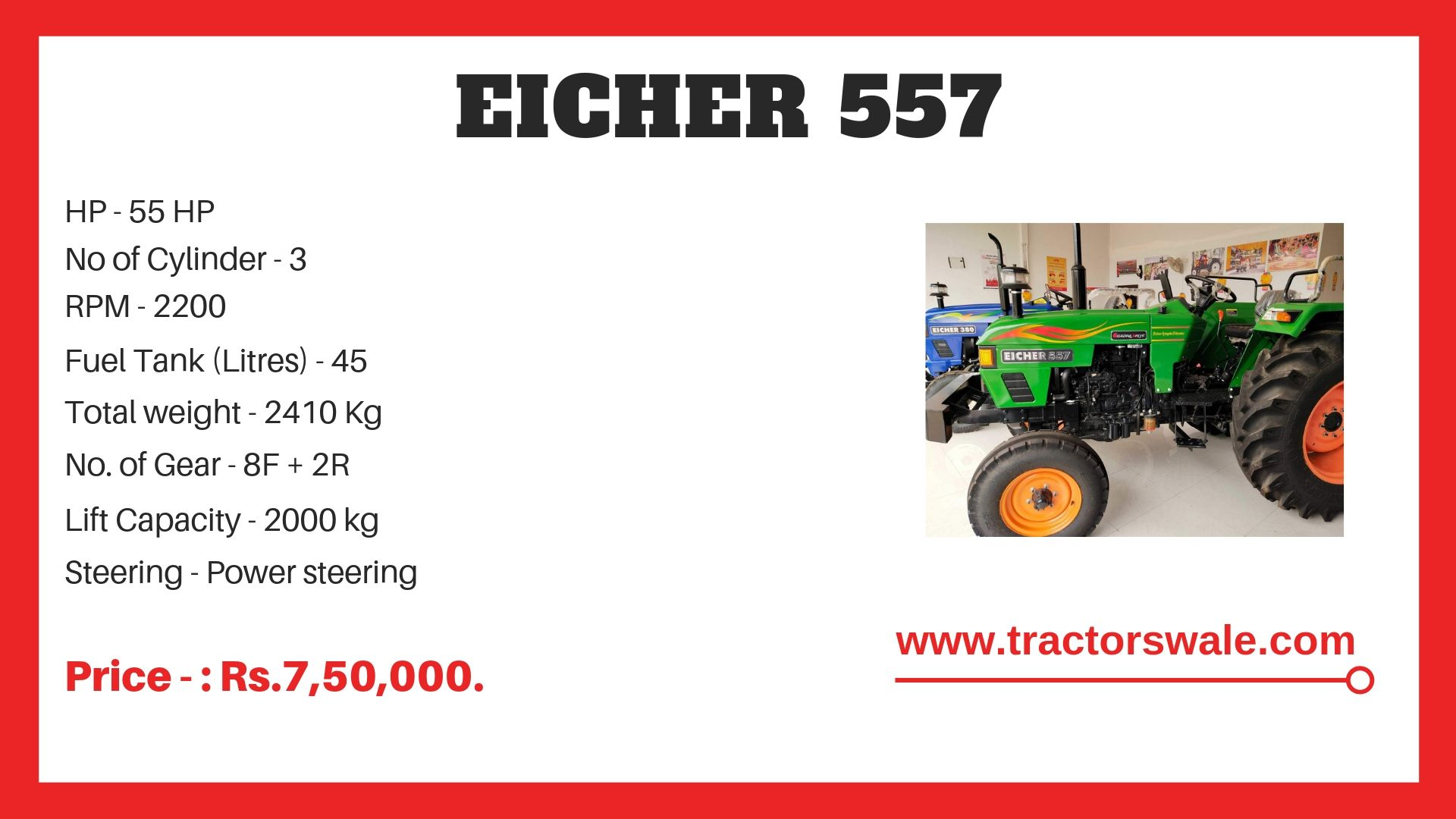 Eicher 557 Tractor Specifications