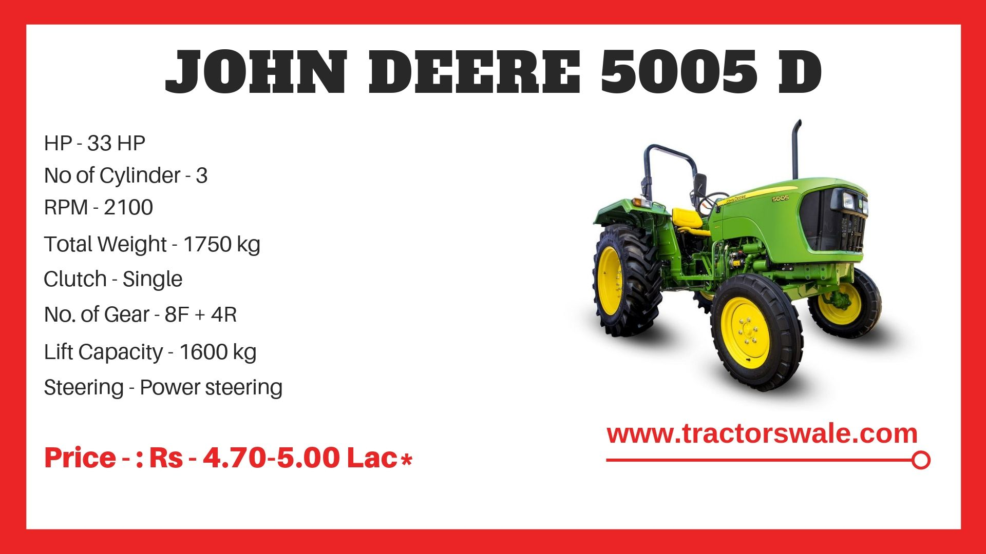John Deere Tractor 5005 D Specifications