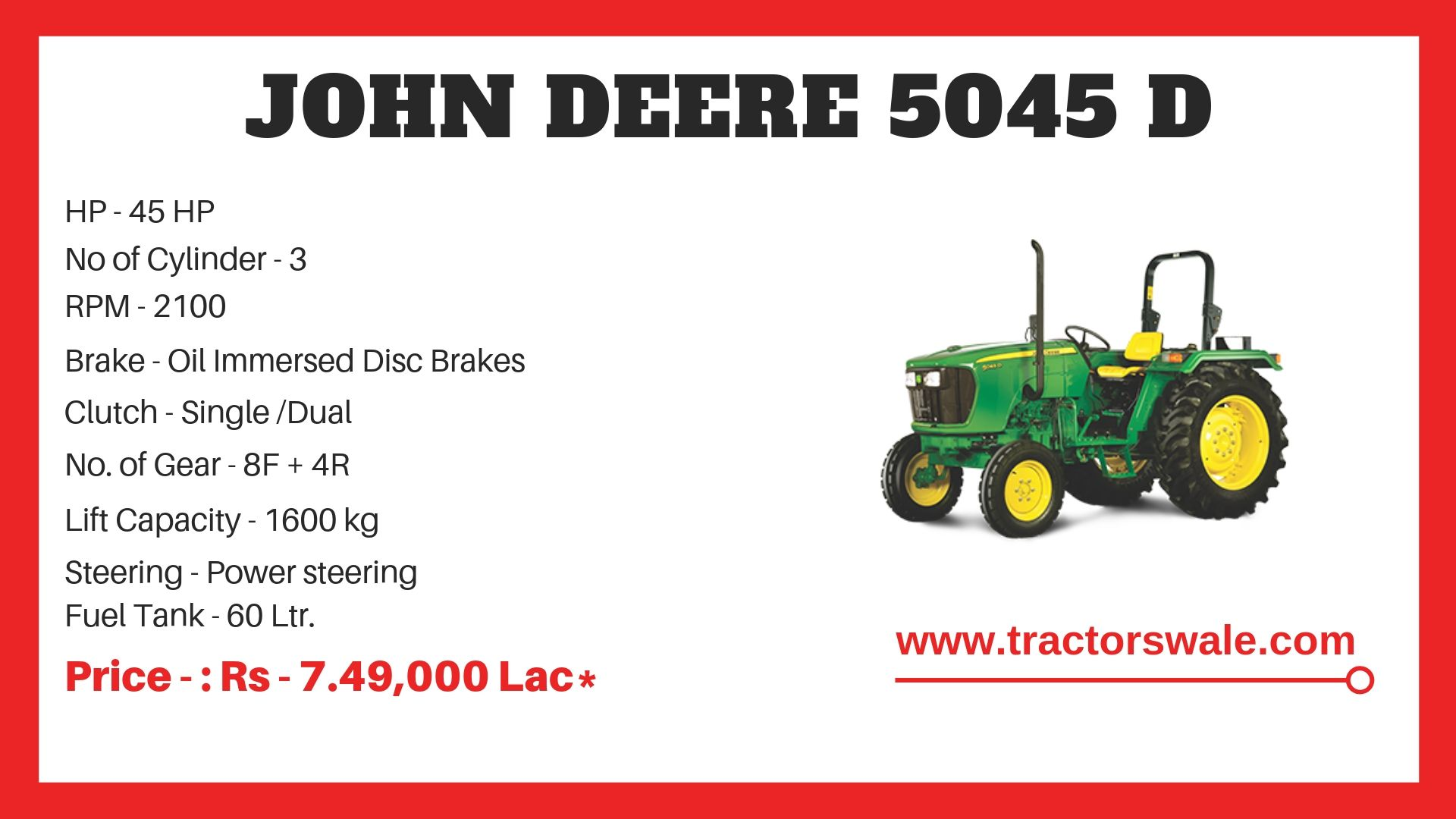 John Deere 5045 D Tractor Specifications