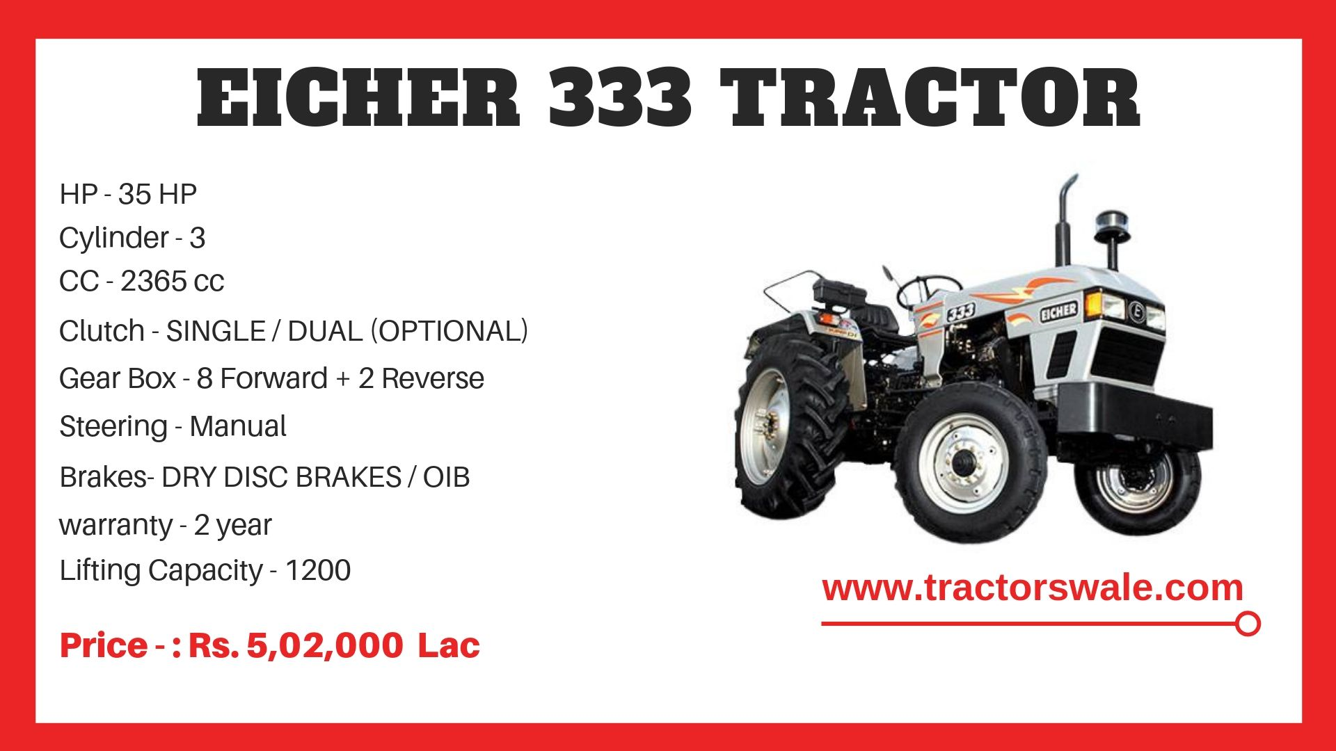 Eicher Tractor 333 Specifications