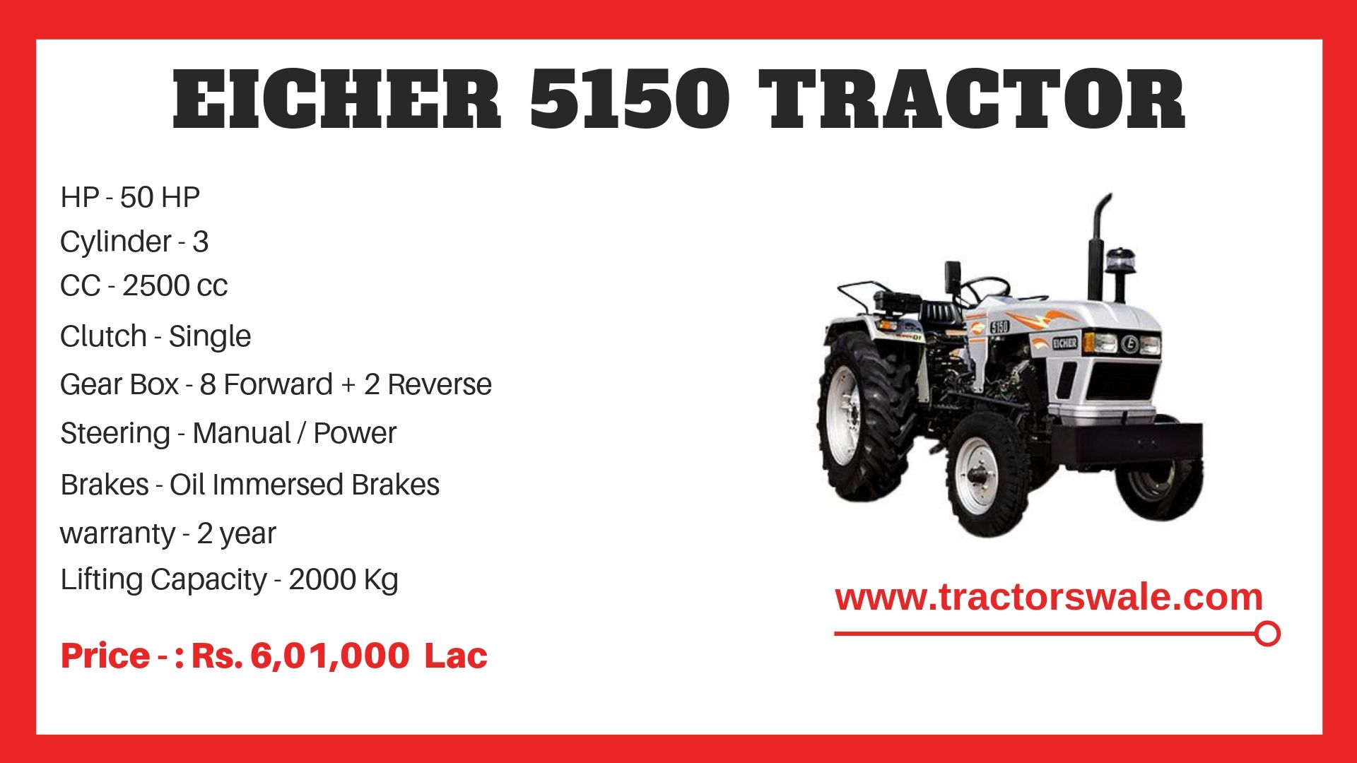 Eicher 5150 Tractor Model Specifications