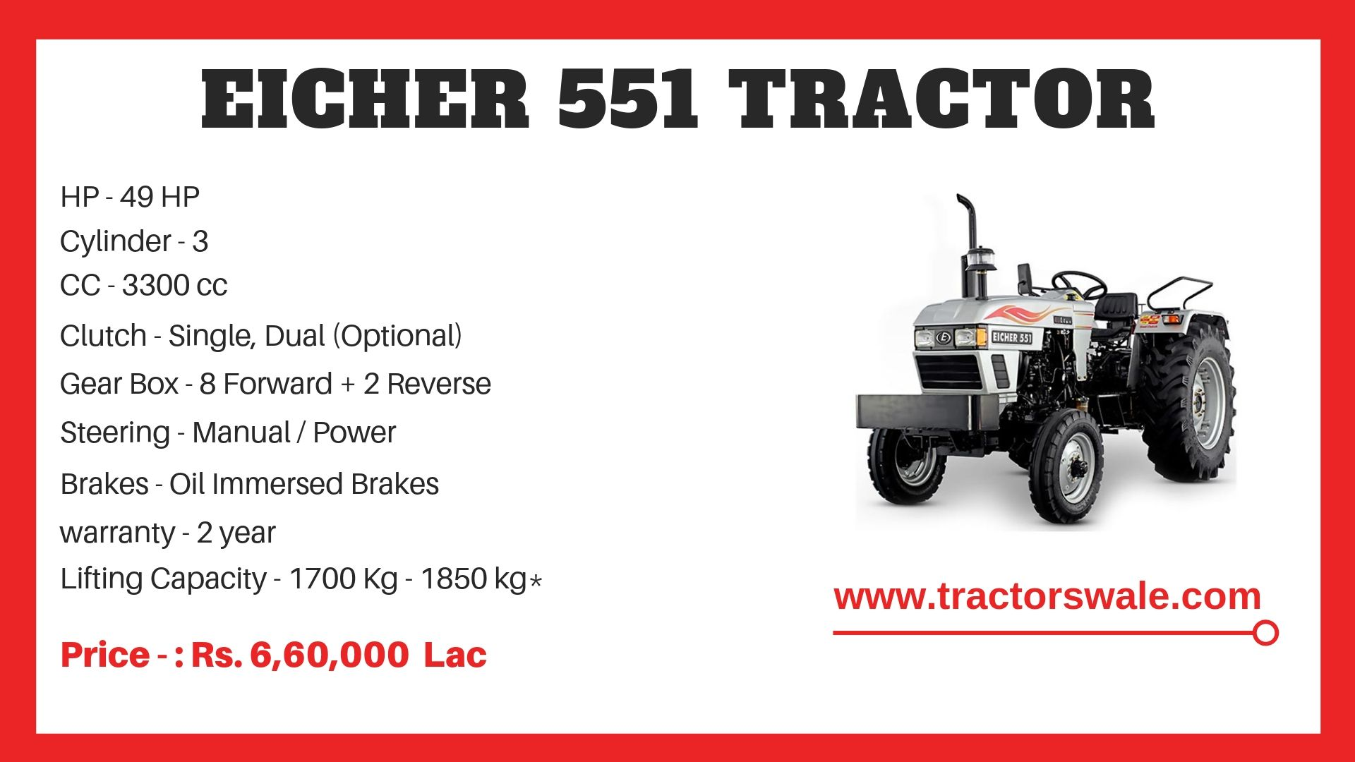 Eicher 551 Tractor Model Specifications