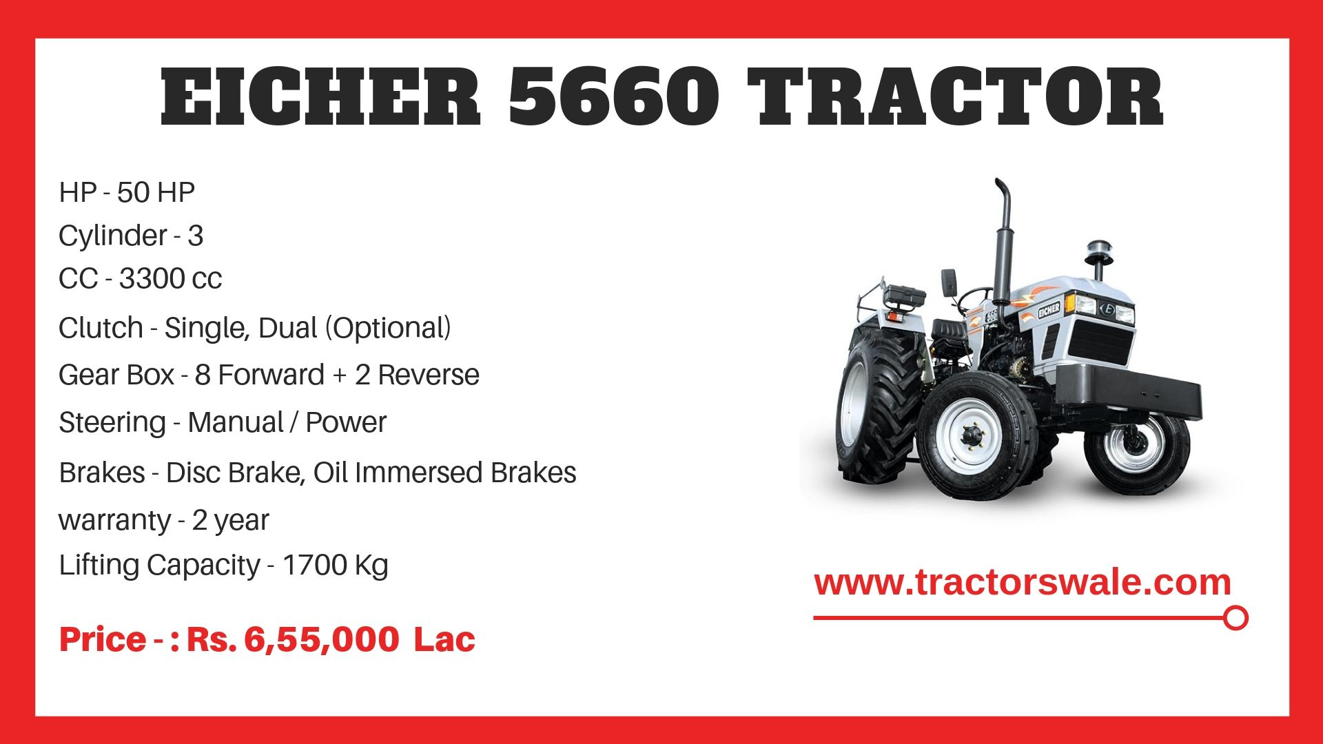 Eicher 5660 Tractor Model Specifications
