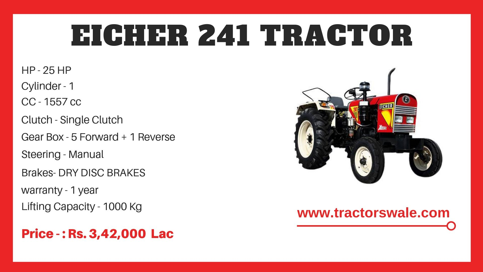 Eicher Tractor 241 Specifications
