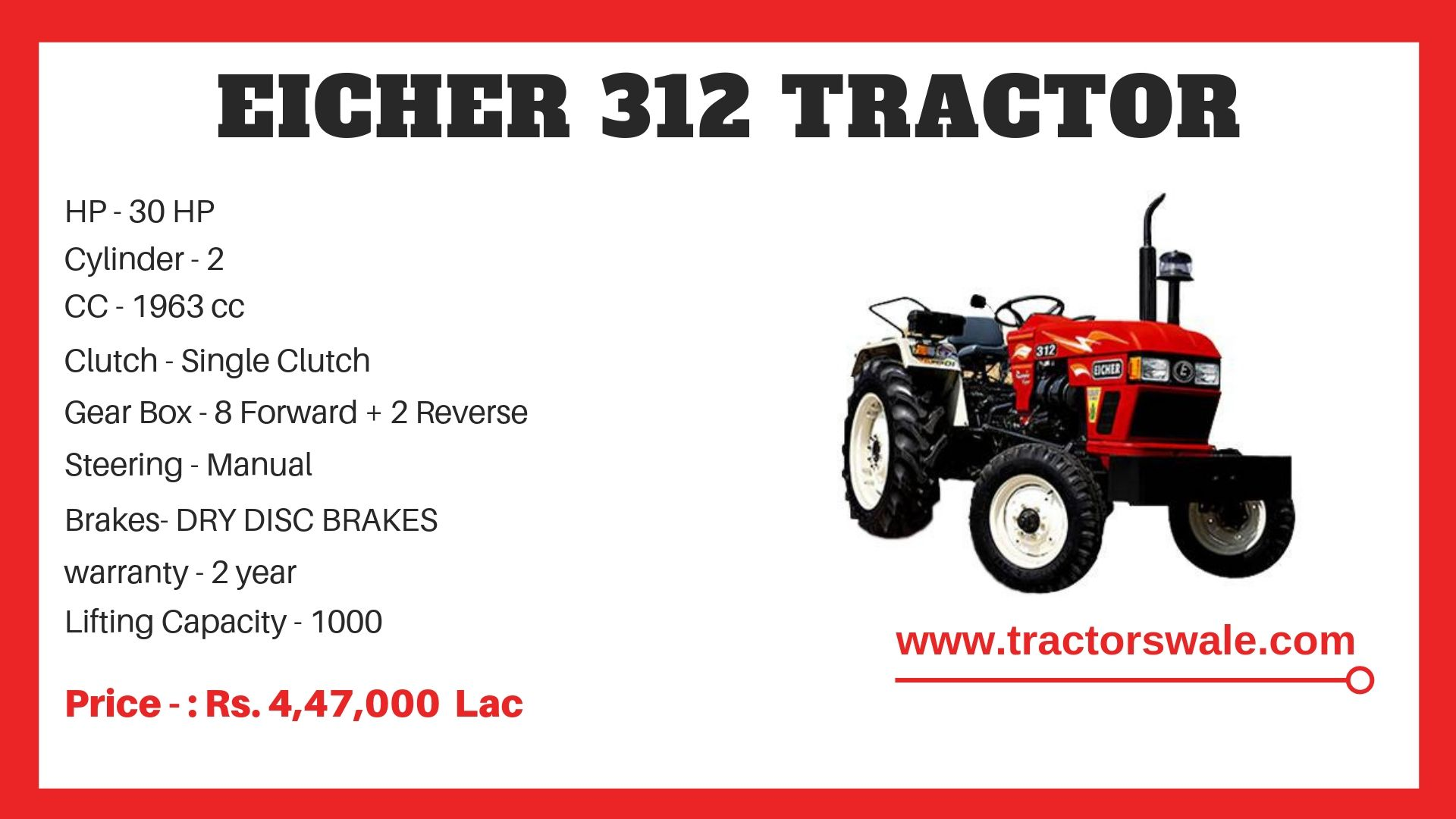 Eicher Tractor 312 Specifications