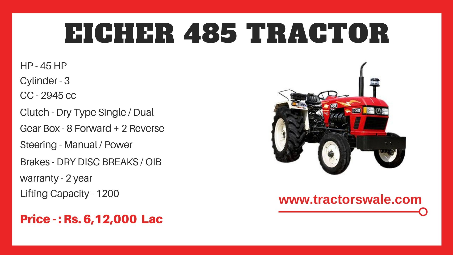Eicher Tractor 485 Specifications