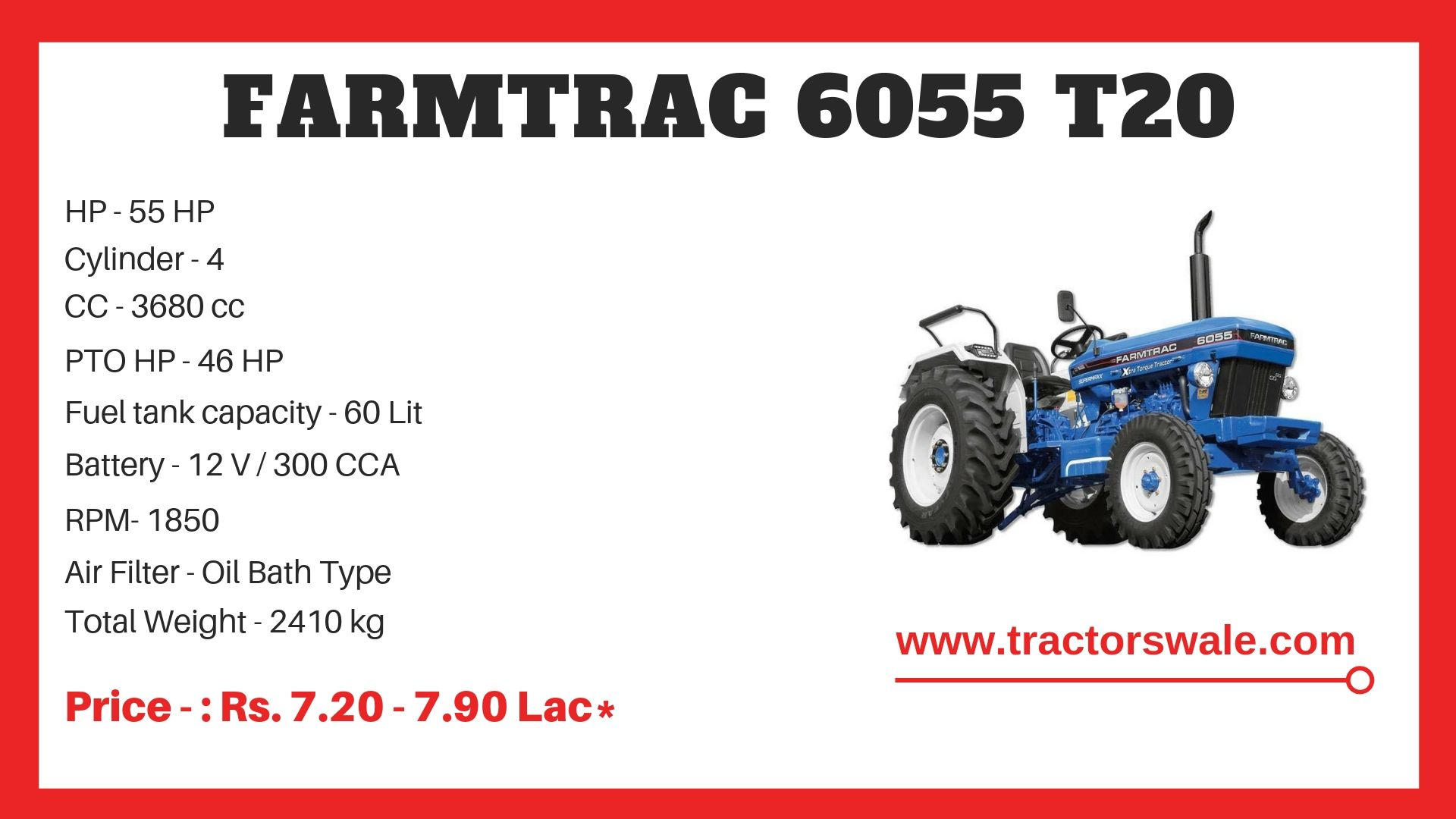 Farmtrac 6055 T20 Escorts Tractor specifications
