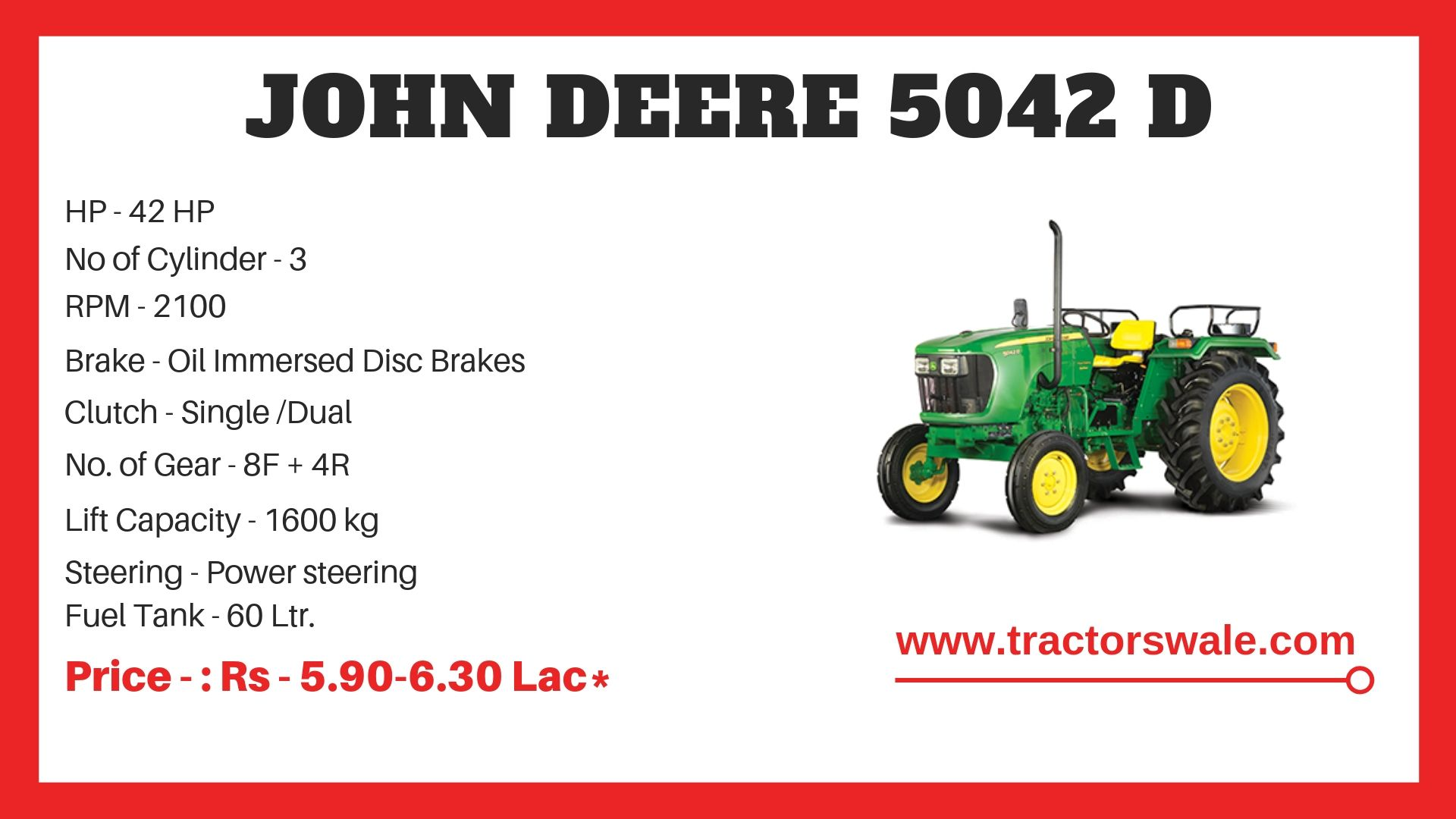 John Deere 5042 D Tractor Specifications