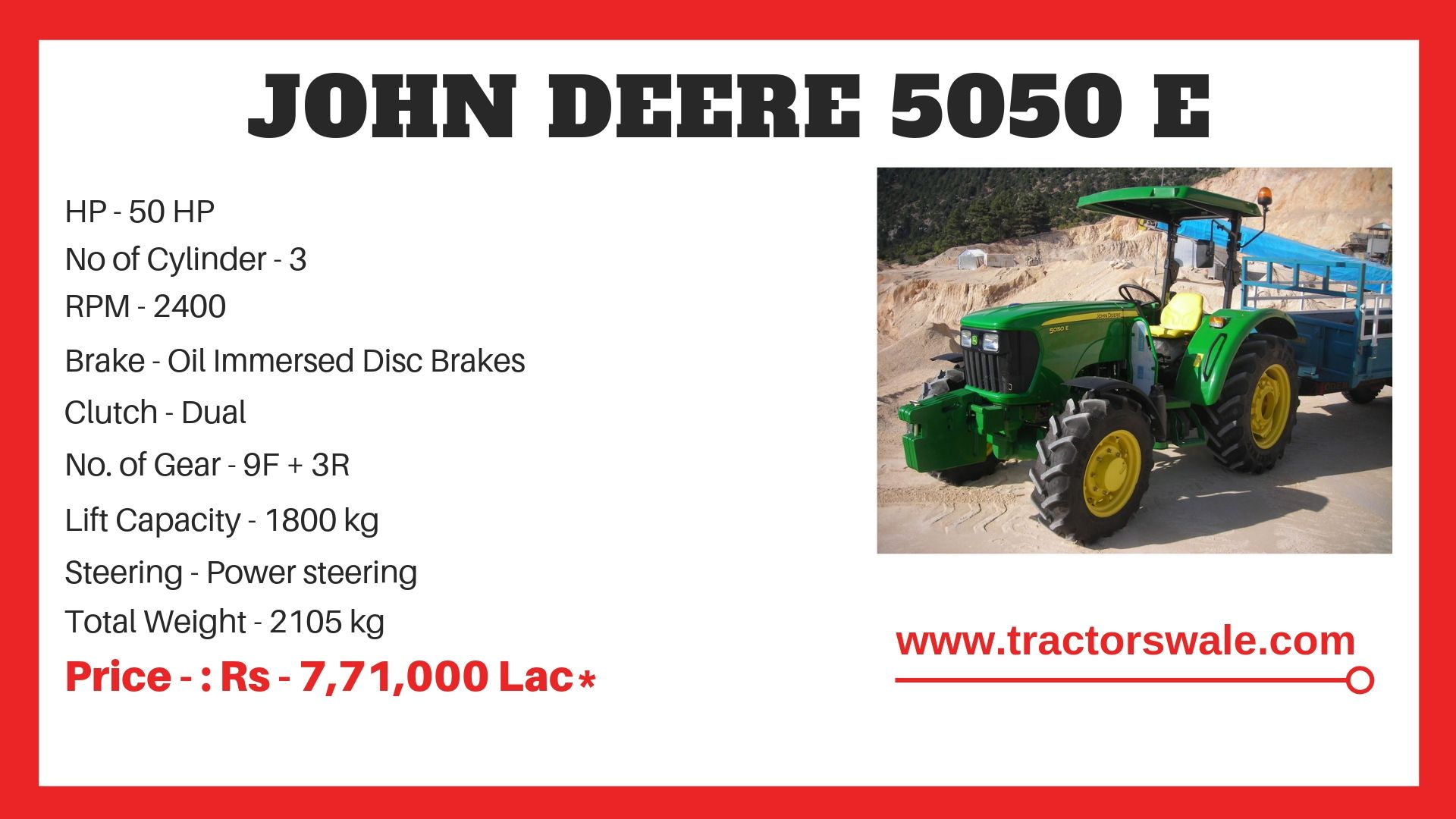 John Deere 5050 E Tractor Specifications