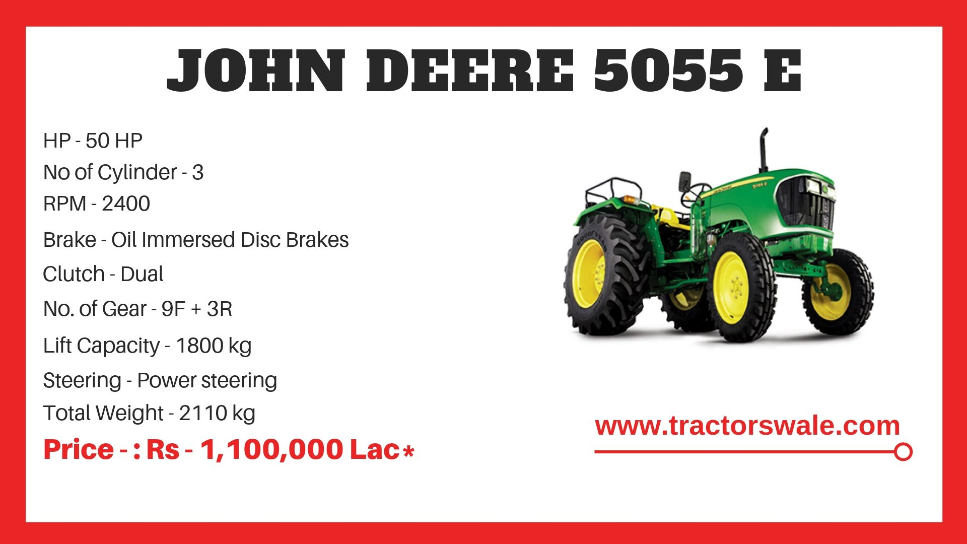 John Deere 5055 E Tractor Specifications
