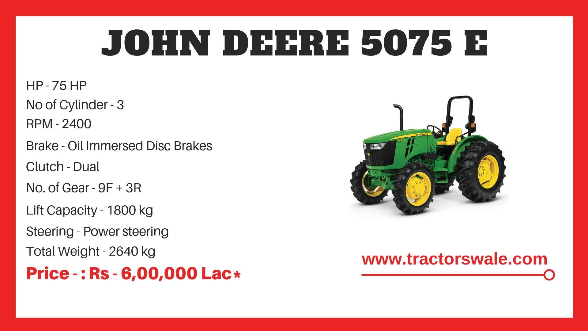 John Deere 5075 E Tractor Specifications