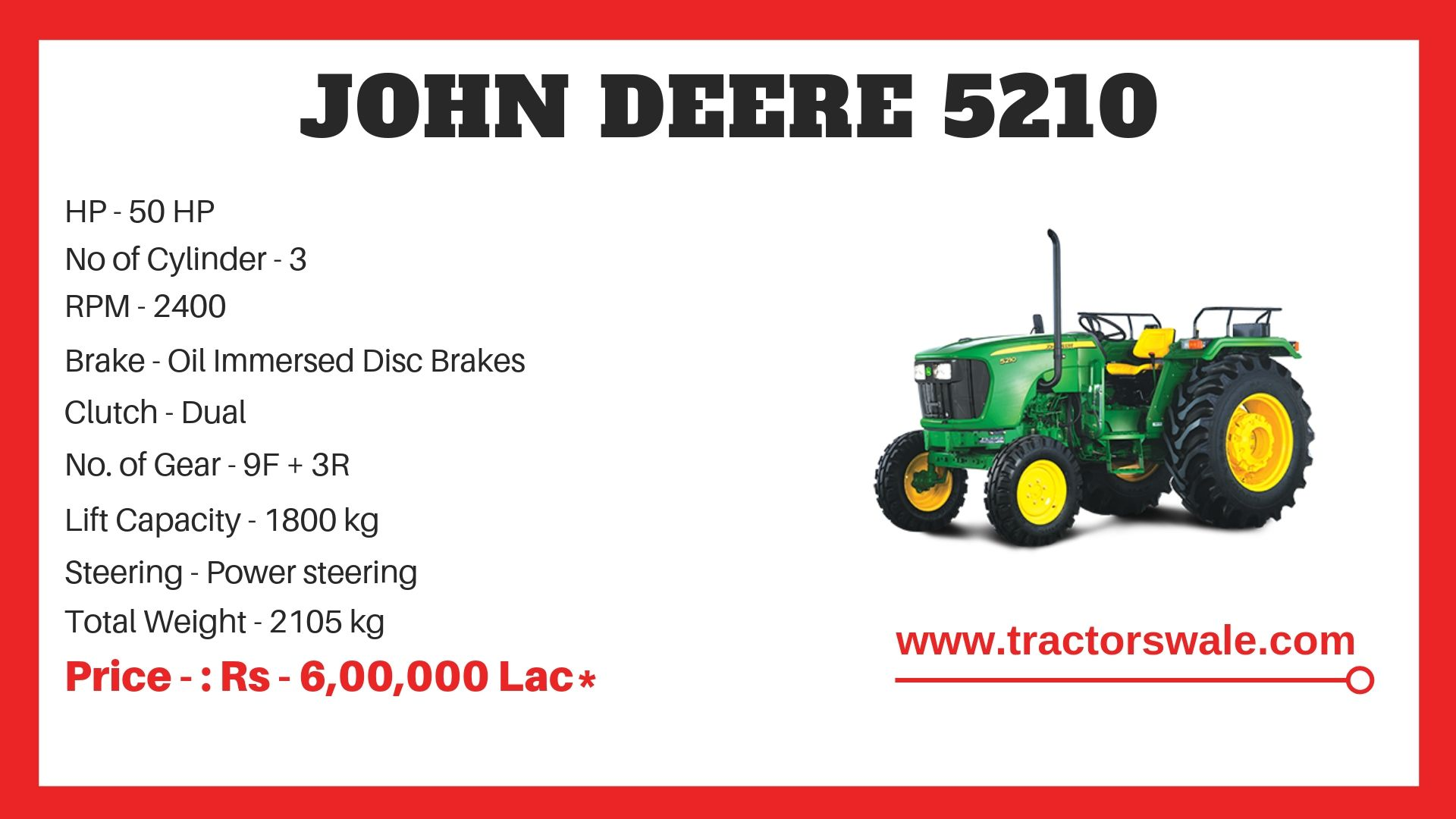 John Deere 5210 Tractor Specifications
