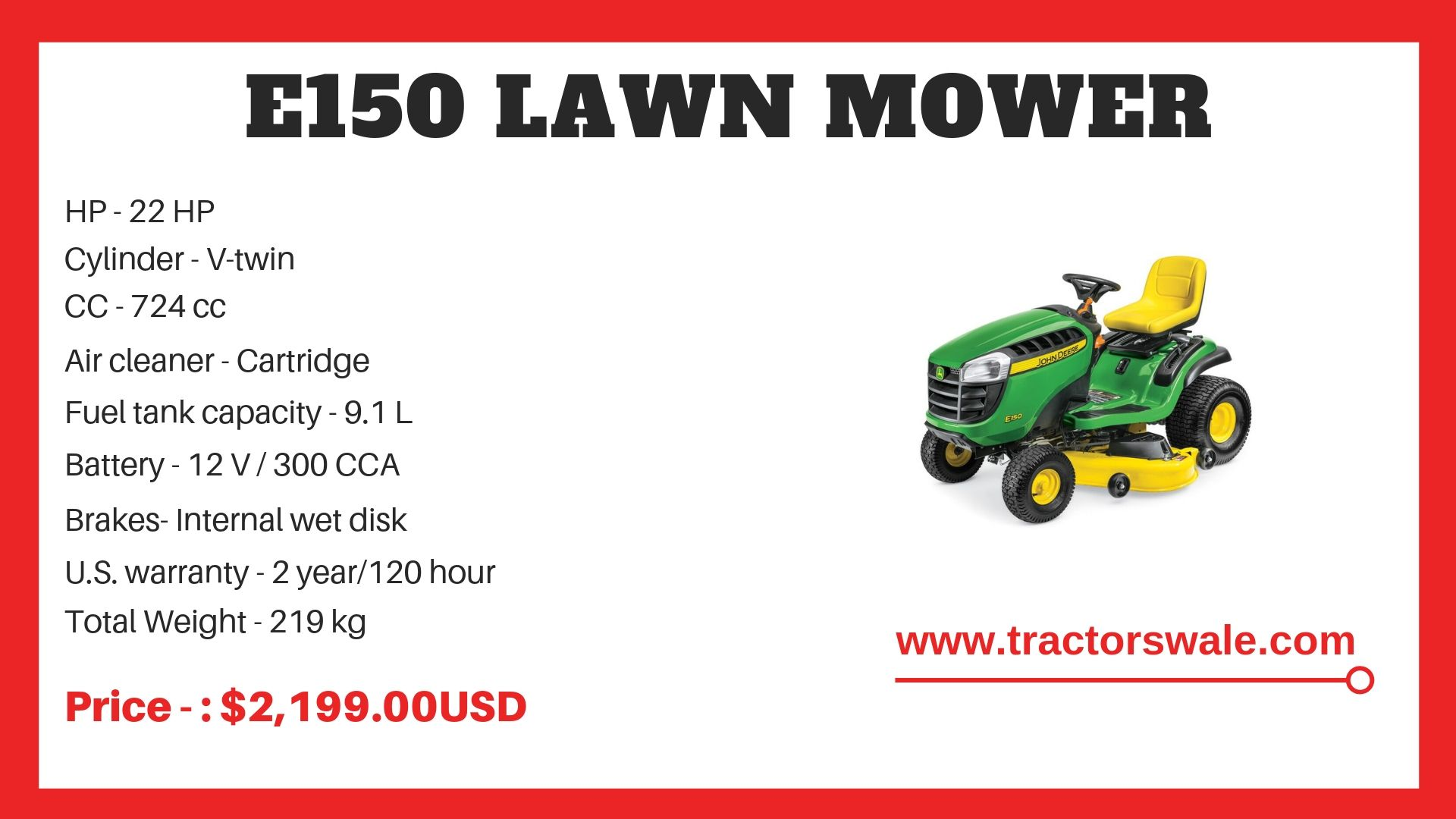 John Deere Tractor E150 Specifications