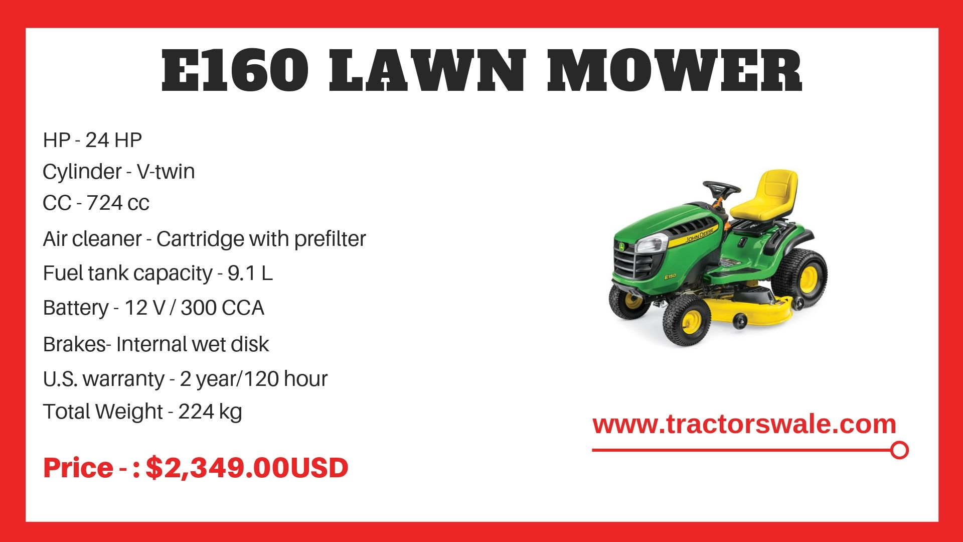 John Deere Tractor e160 Specifications
