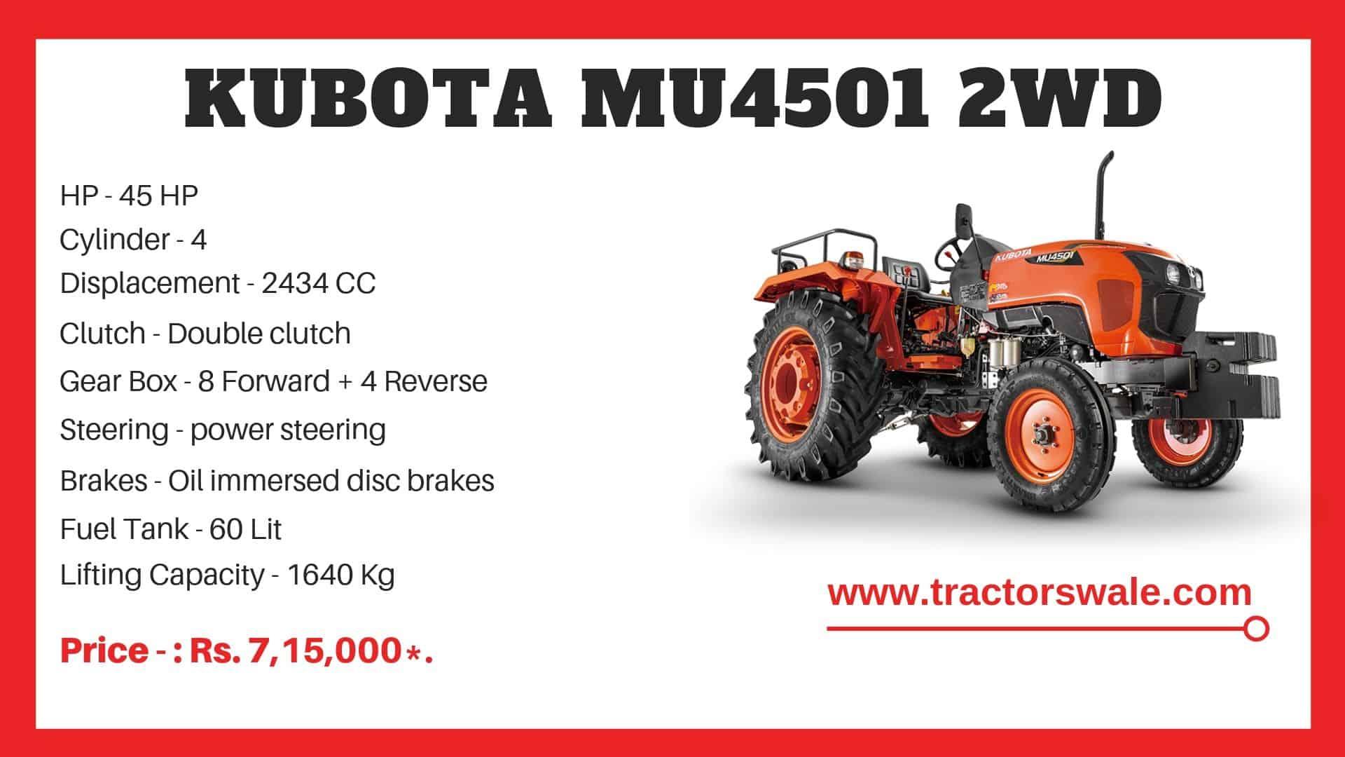 Kubota MU4501 2WD tractor price specifications | kubota 45