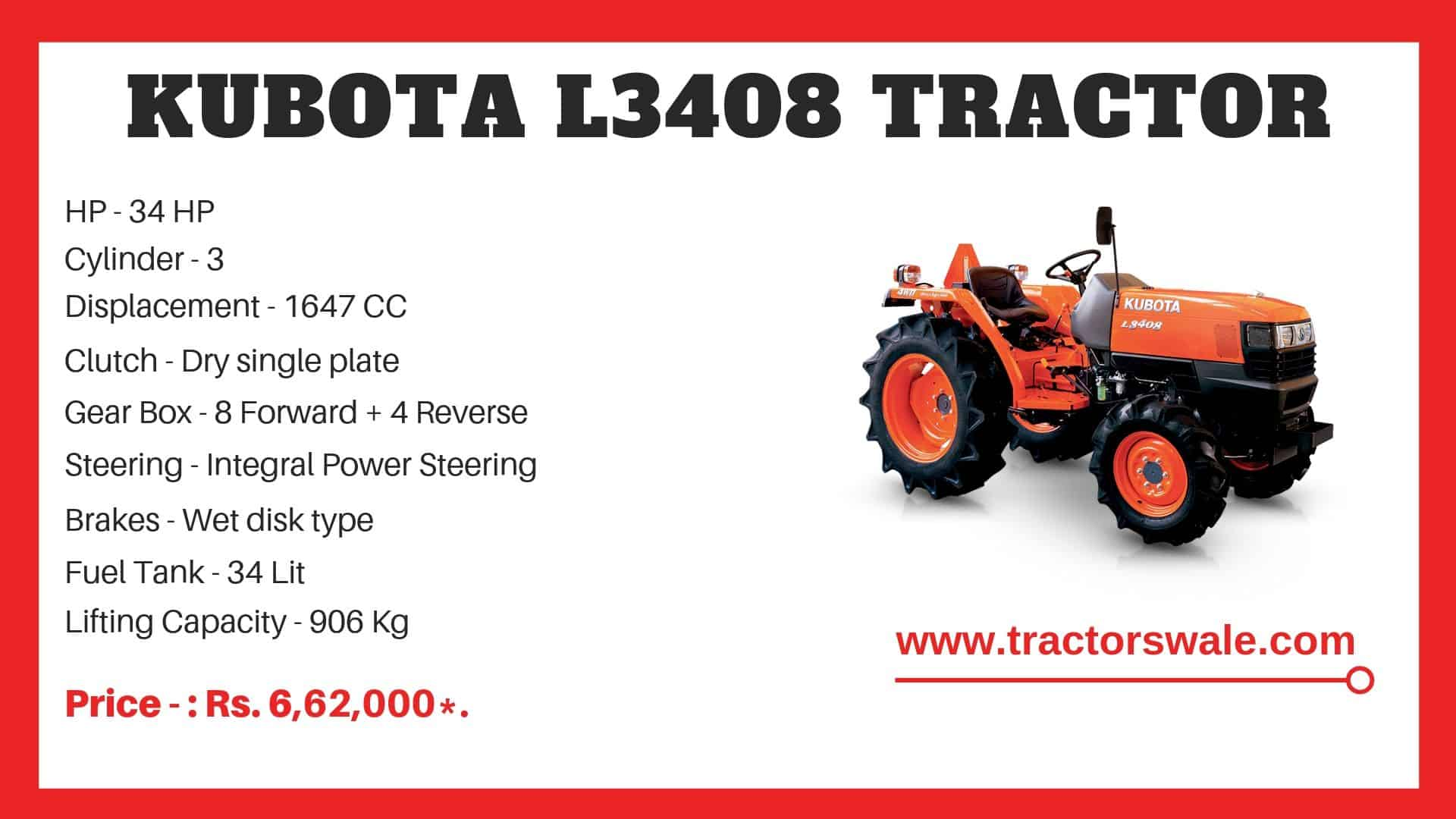 Kubota l3408 mini tractor specifications