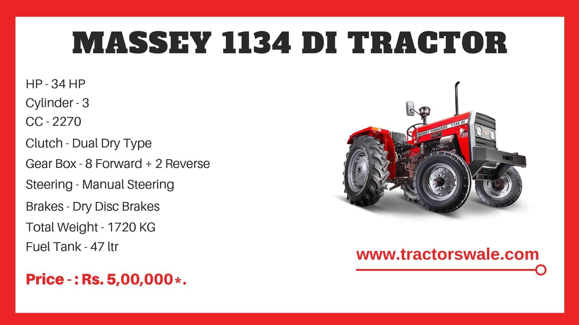 Massey Ferguson 1134 di Specifications