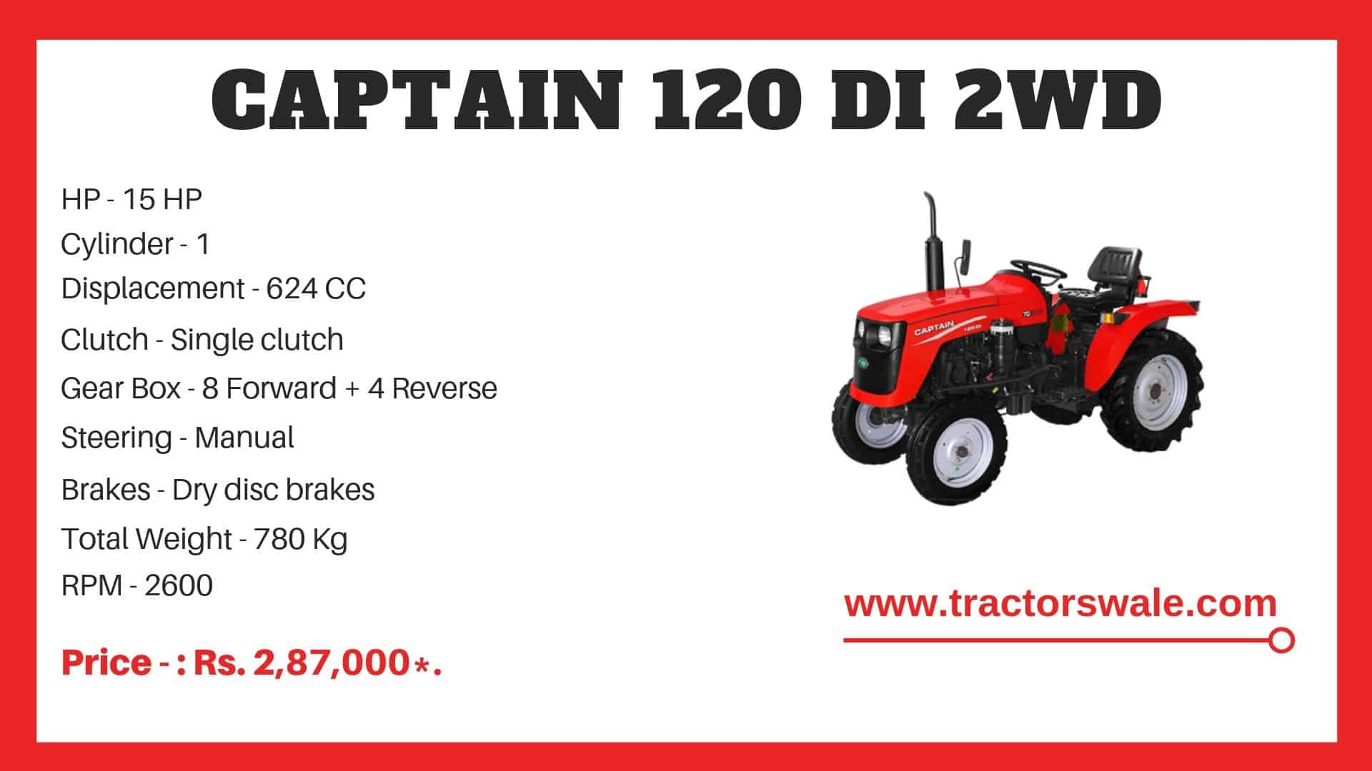 Specification of Captain 120 DI 2WD