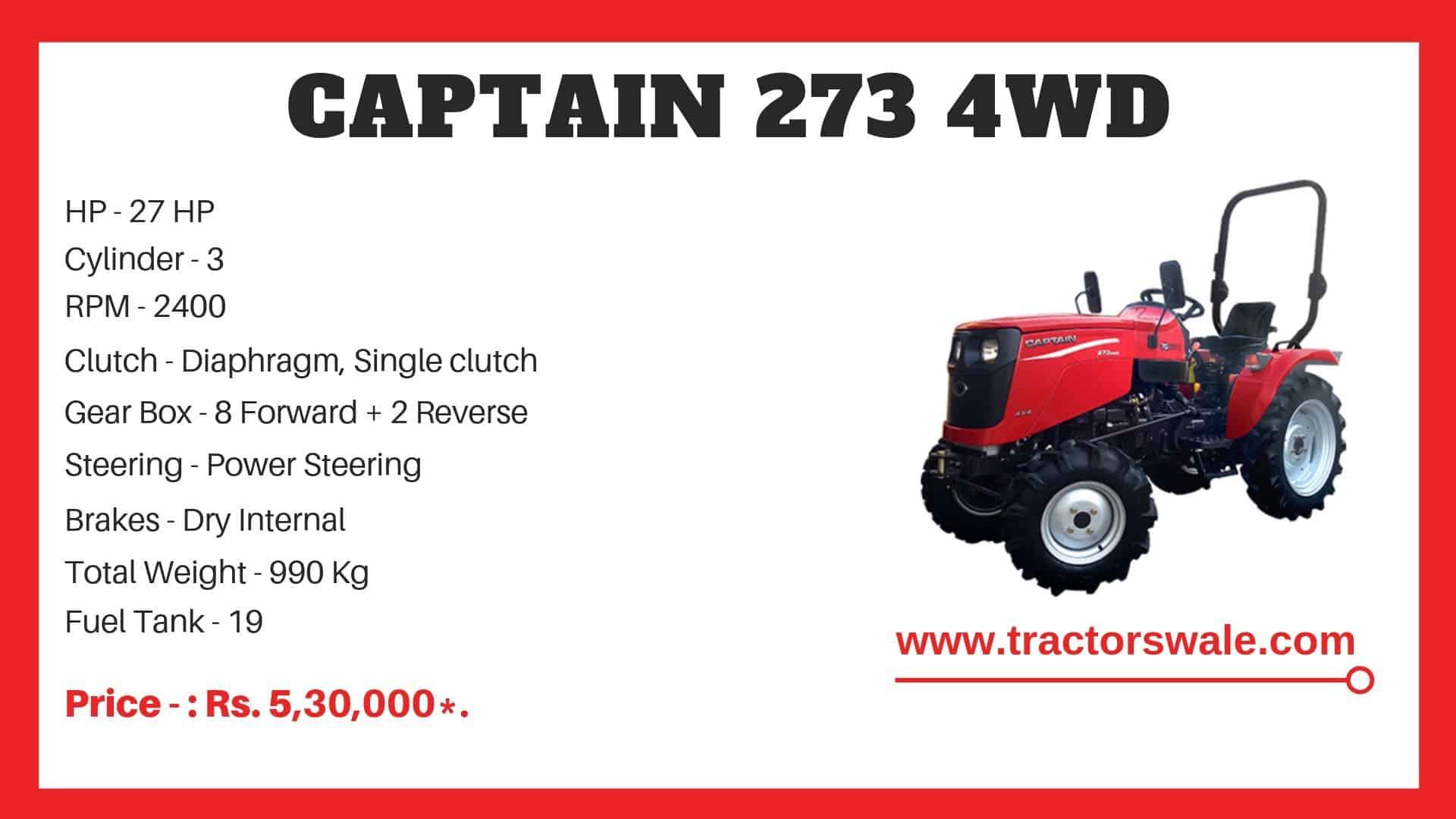 Specification of Captain 273 4WD