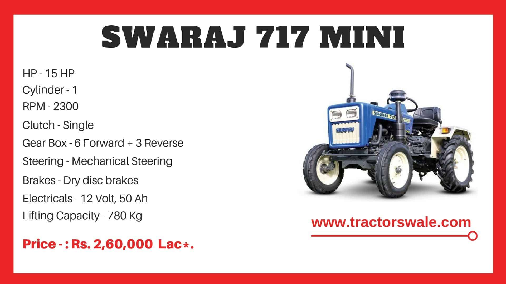 Specification of Swaraj 717 Tractor