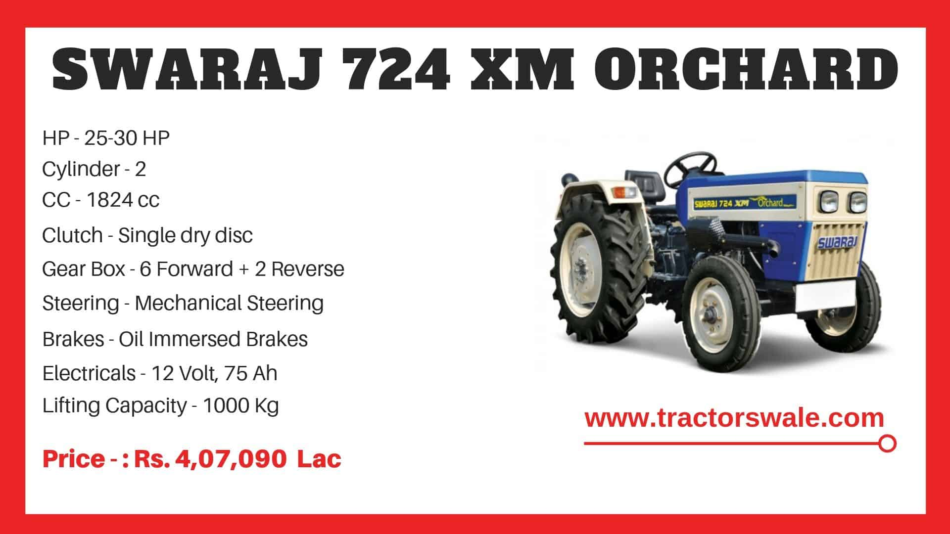 Specification of Swaraj 724 XM ORCHARD