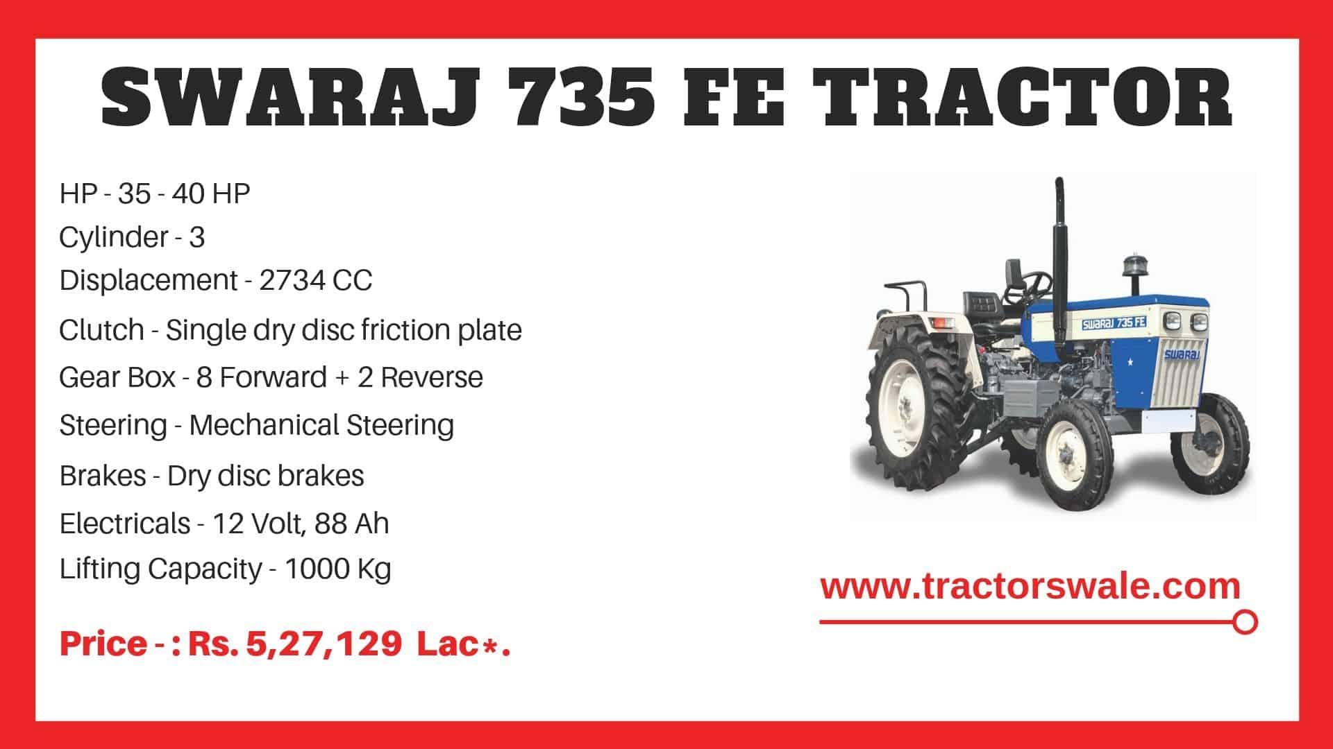 Specification of Swaraj 735 FE Tractor