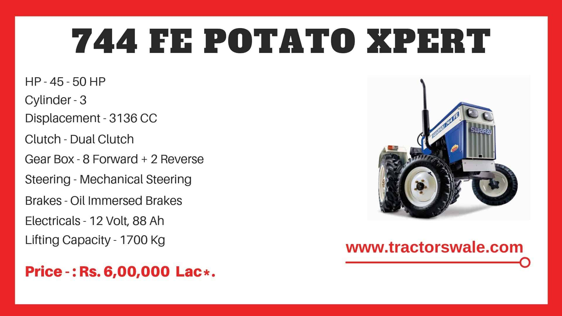 Specification of Swaraj 744 FE Potato Xpert Tractor
