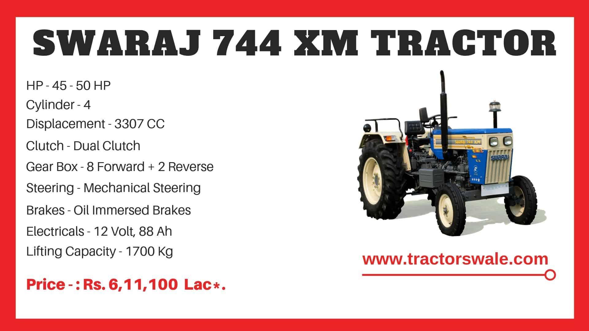 Specification of Swaraj 744 XM Tractor