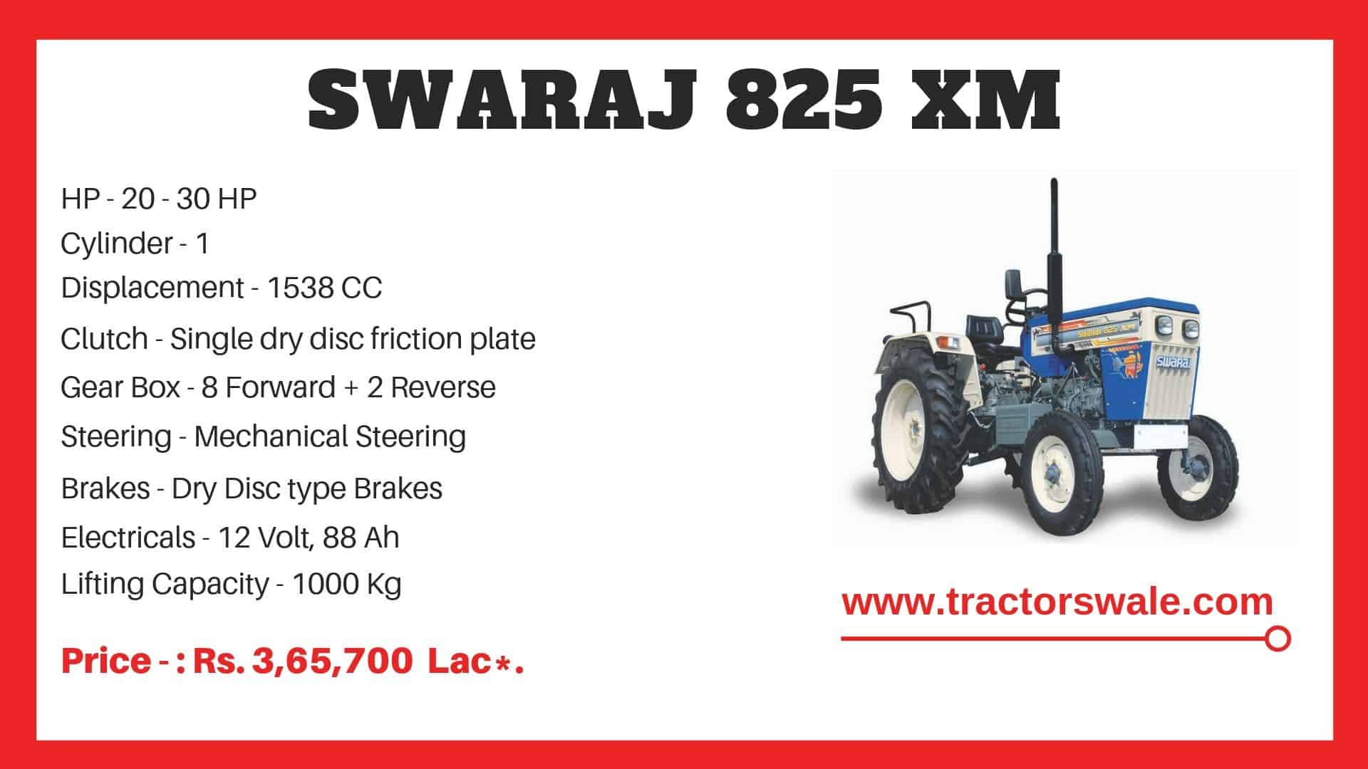 Specification of Swaraj 825 XM Tractor