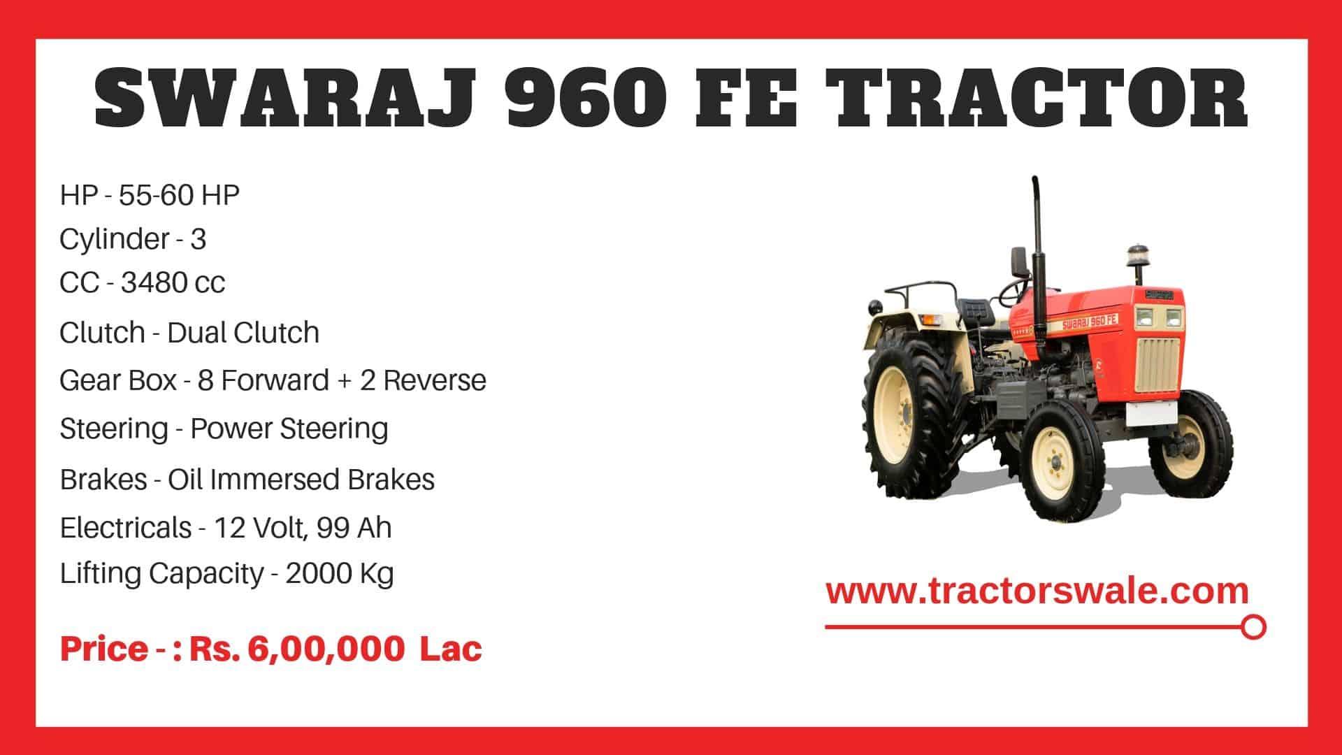 Specification of Swaraj 960 FE Tractor