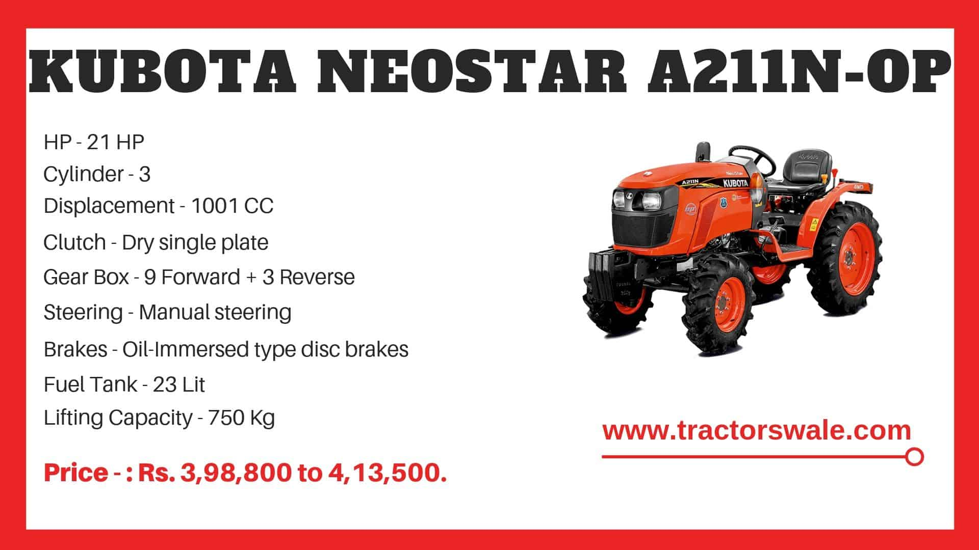 Specifications Of Kubota A211N-OP Tractor