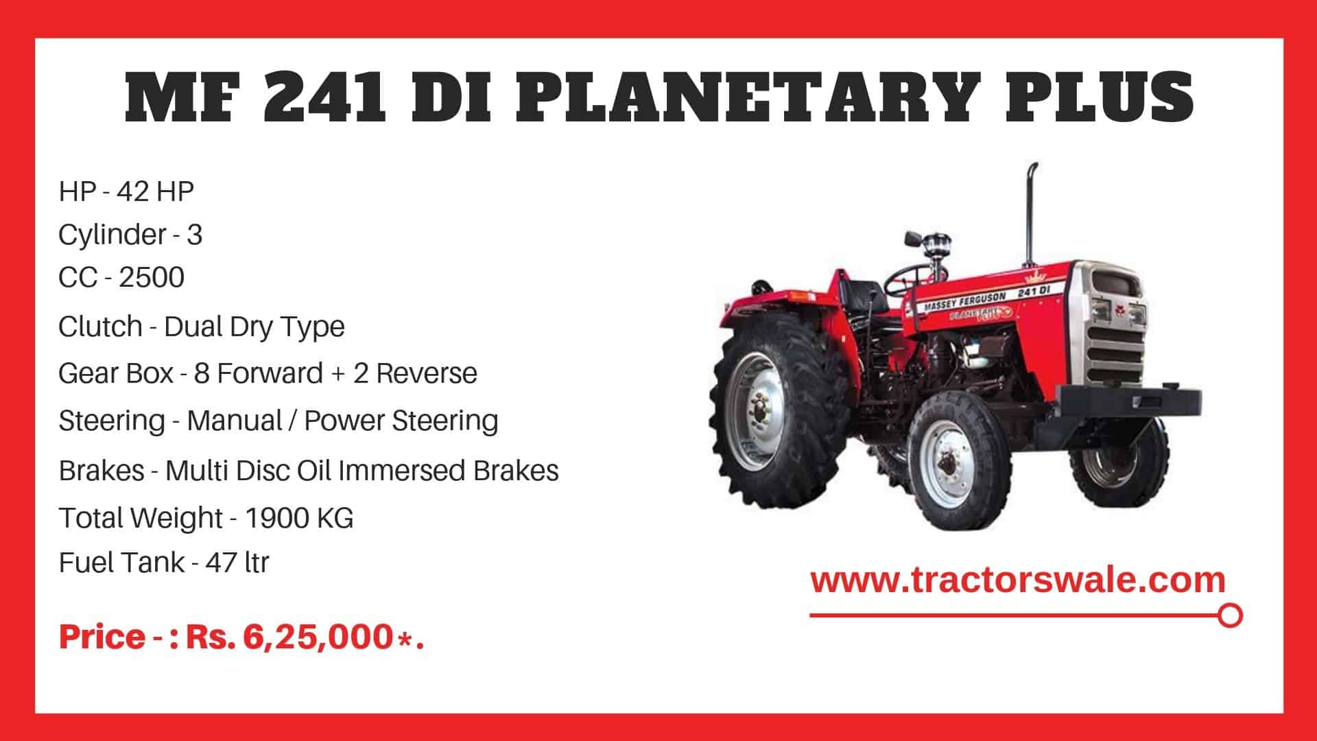 Specifications Of Massey Ferguson 241 DI planetary plus