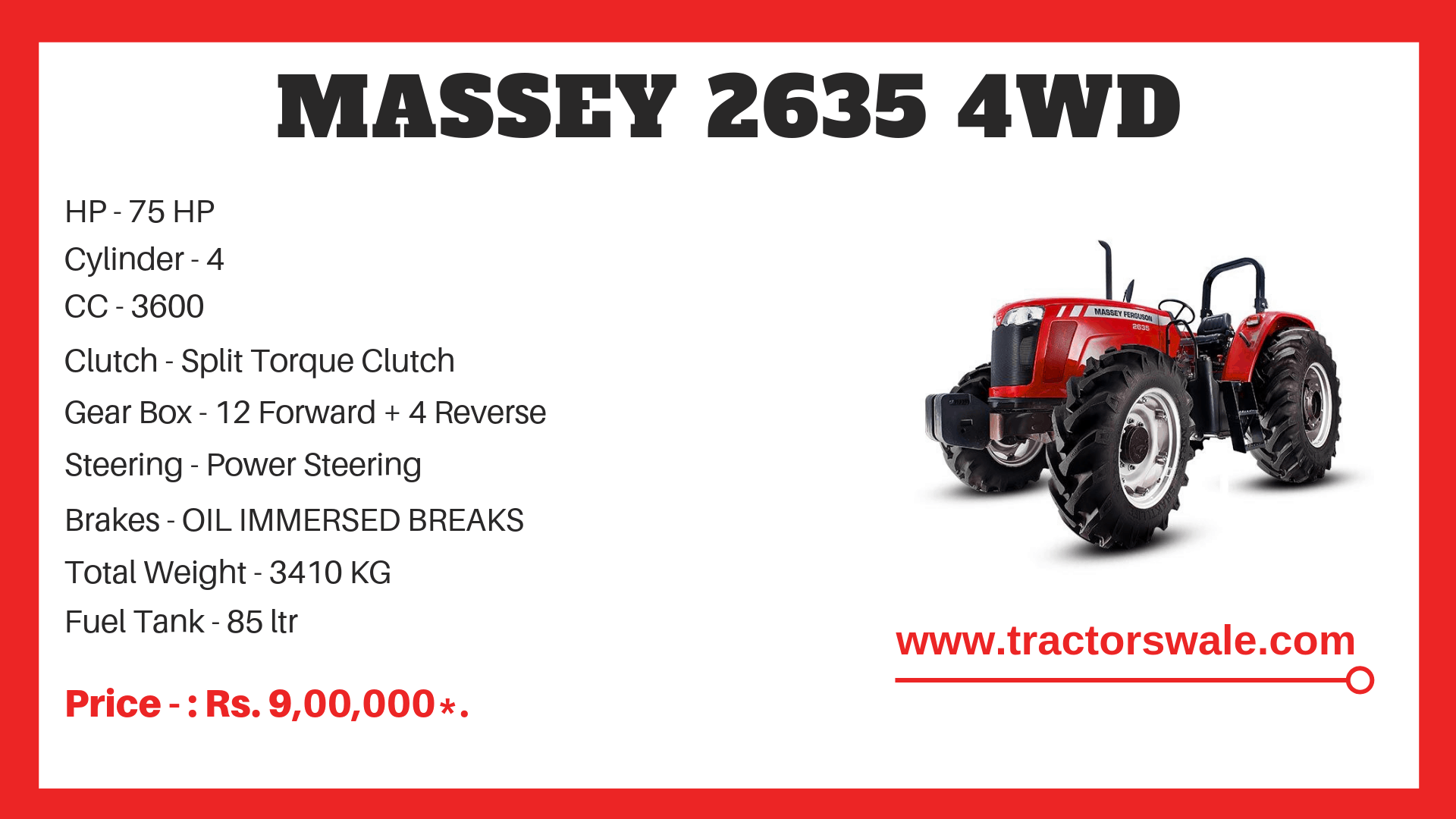Specifications Of Massey Ferguson 2635 4WD Tractor