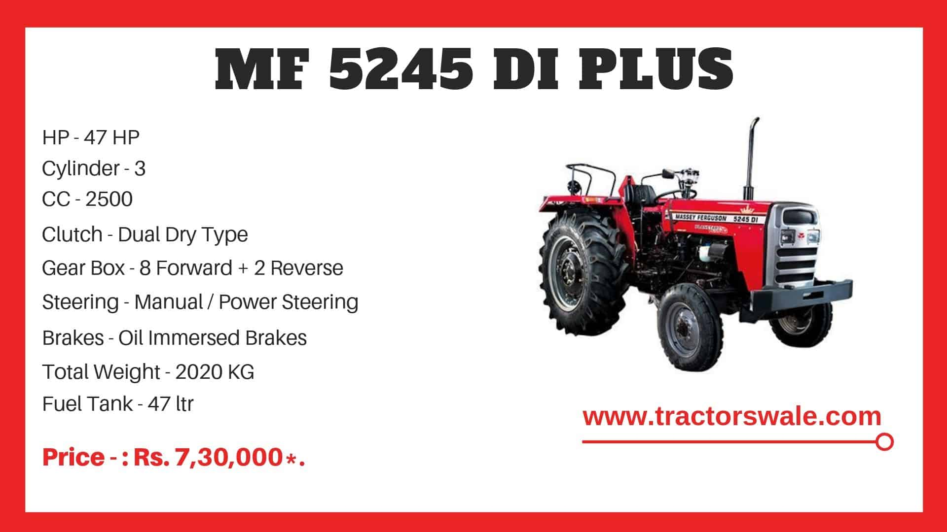 Specifications Of Massey Ferguson 5245 DI