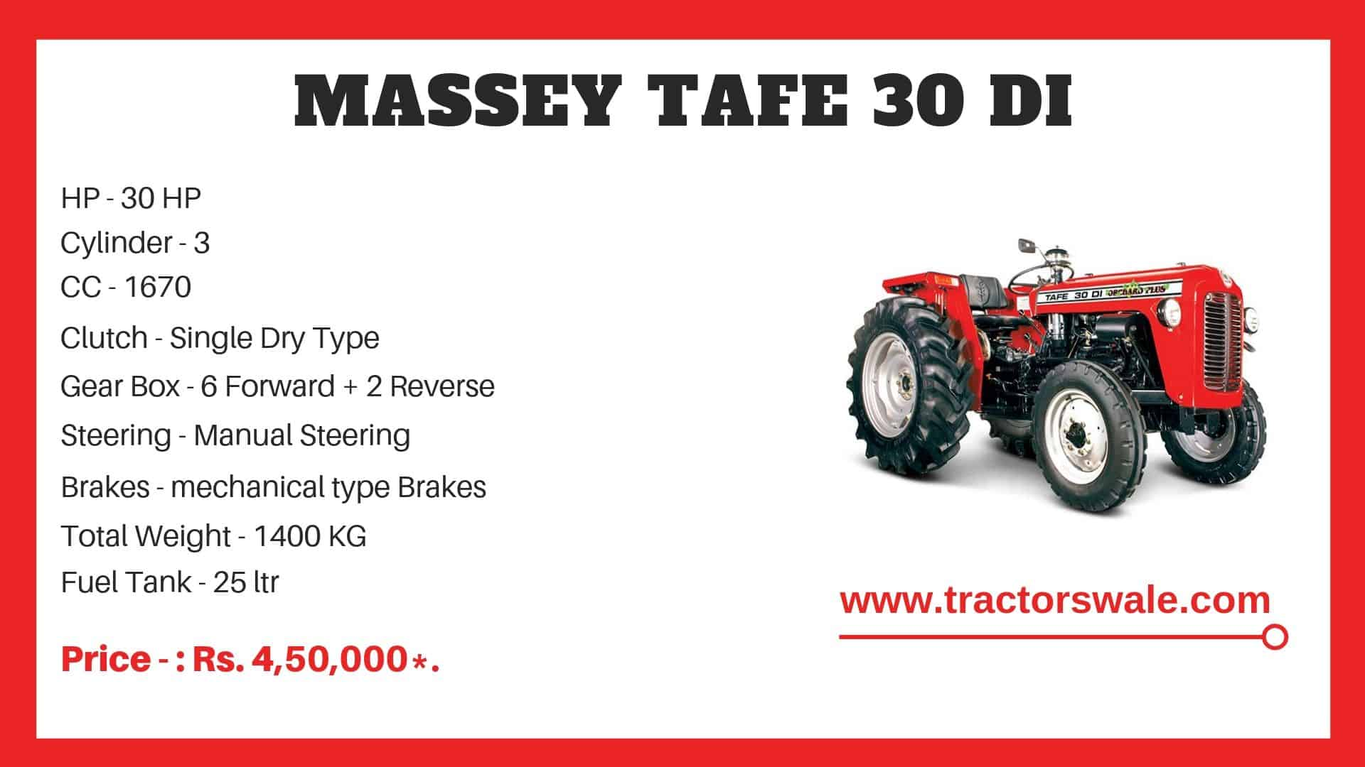 Specifications Of TAFE 30 DI Tractor