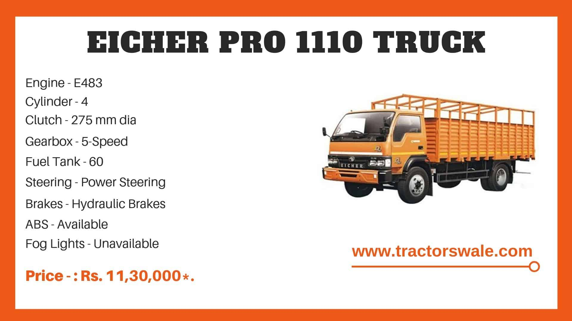 Eicher Pro 1055 truck Specification