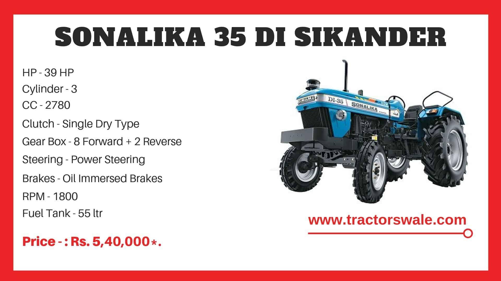 Sonalika 35 DI Sikander Tractor specs
