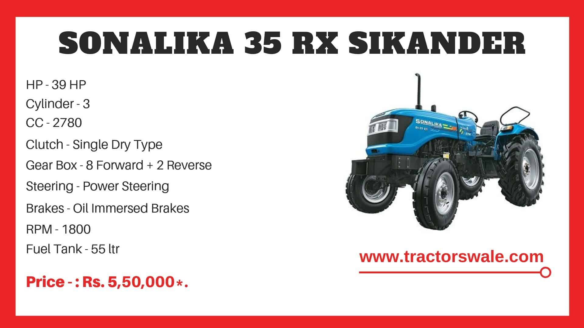 Sonalika 35 RX Sikander tractor specifications