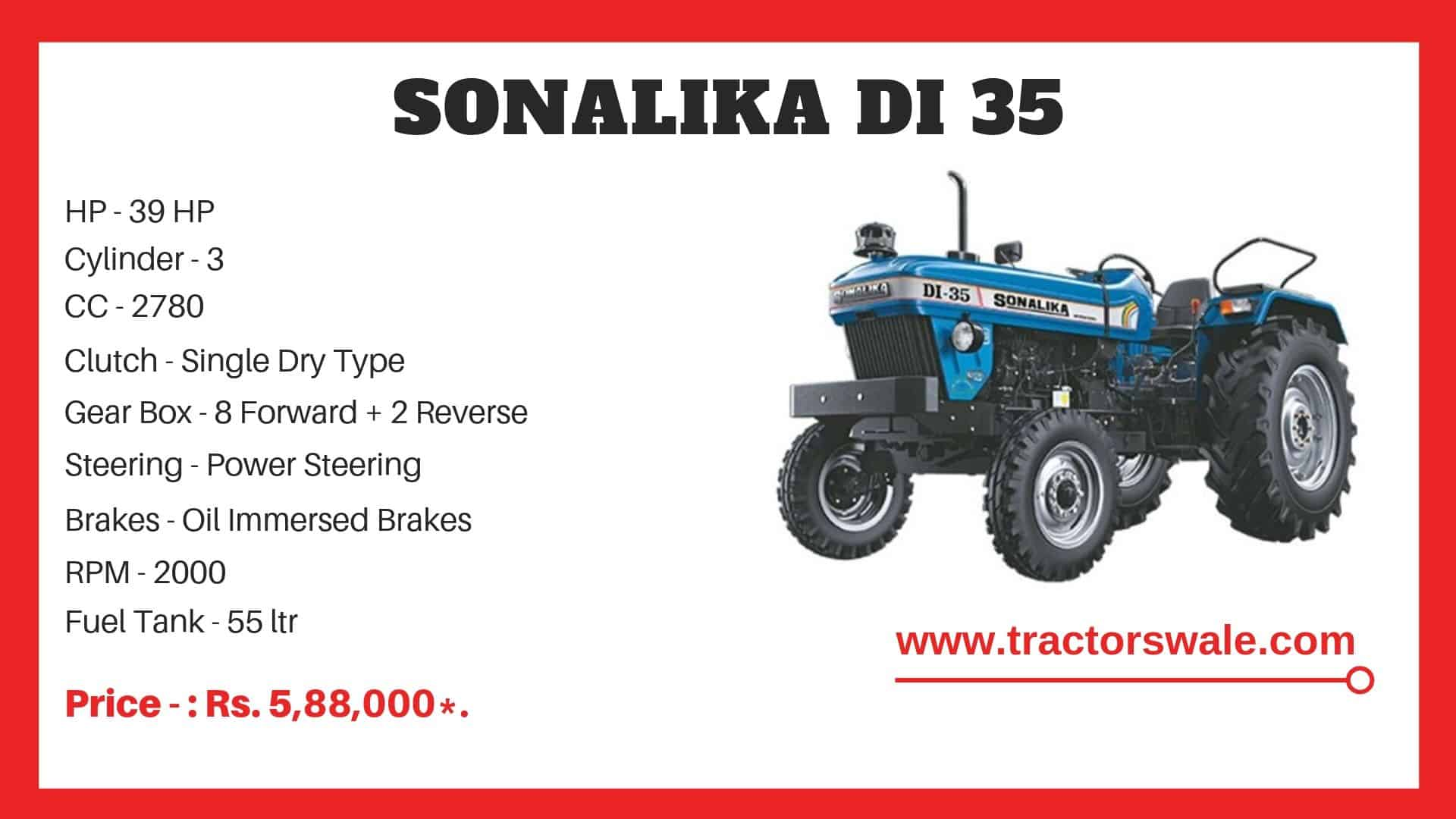 Sonalika DI 35 tractor specifications