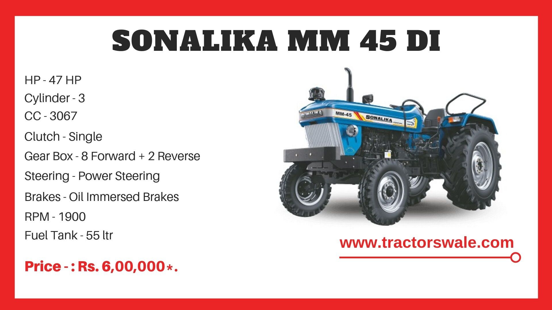 Sonalika MM 45 DI tractor specifications
