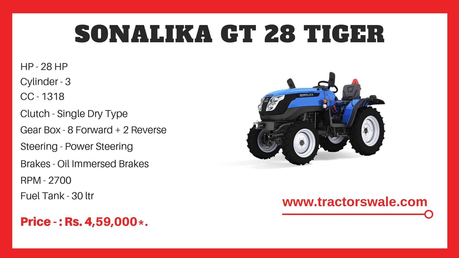 Specifications Of Sonalika GT 28 Mini tractor
