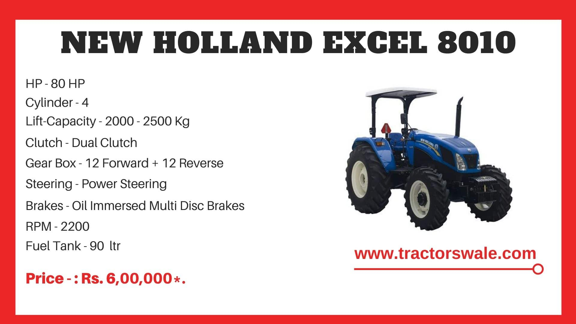 New Holland Excel 8010 tractor specs
