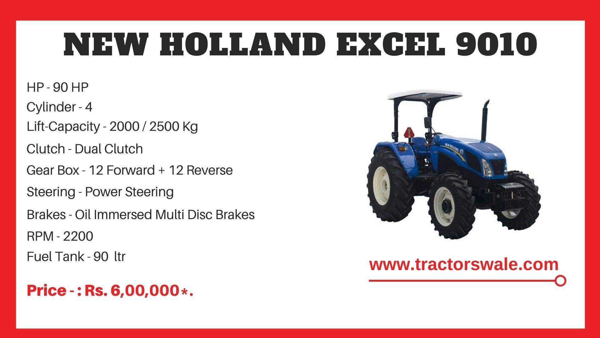 New Holland Excel 9010 tractor specs
