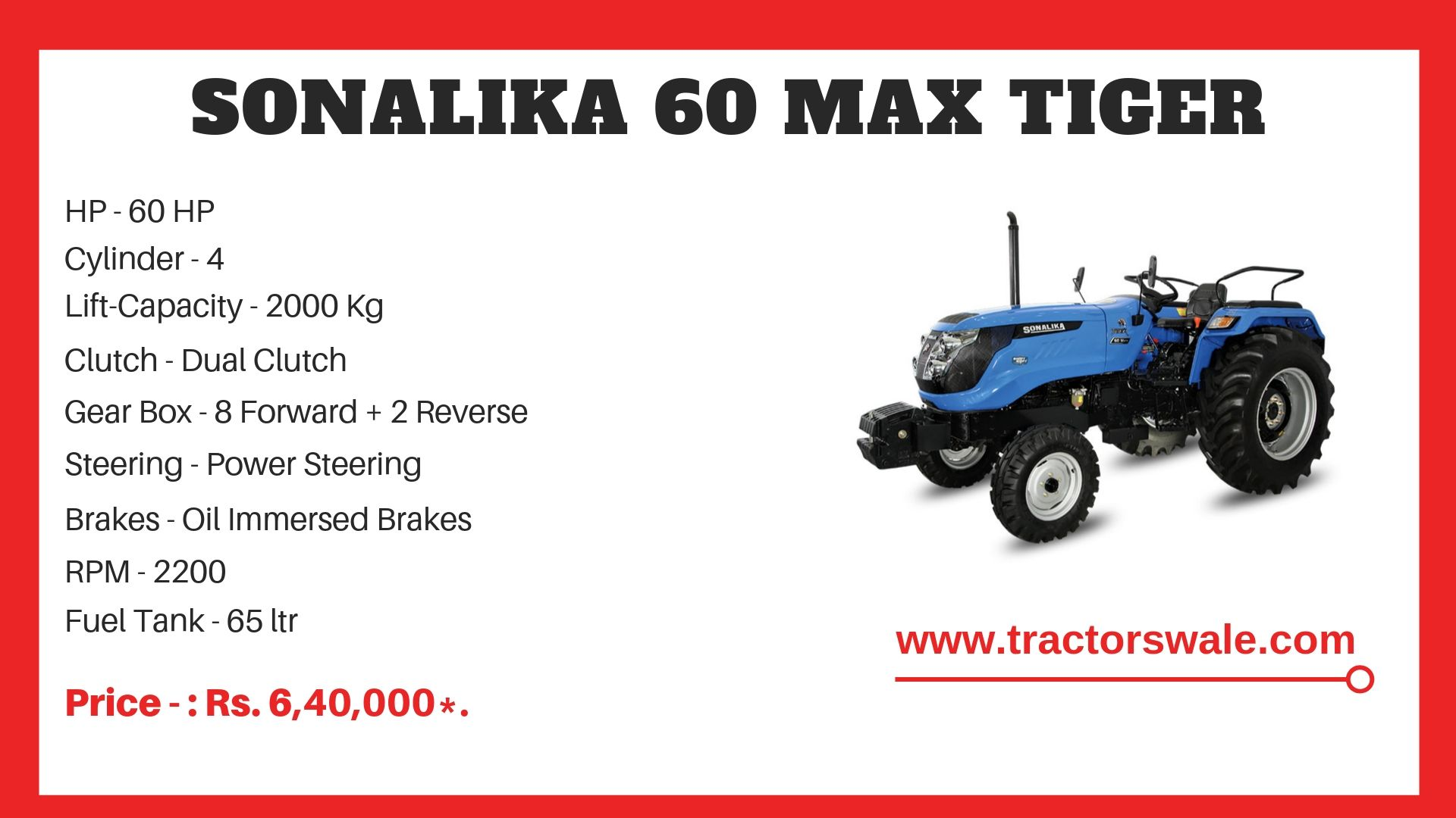 Sonalika 60 tractor specs