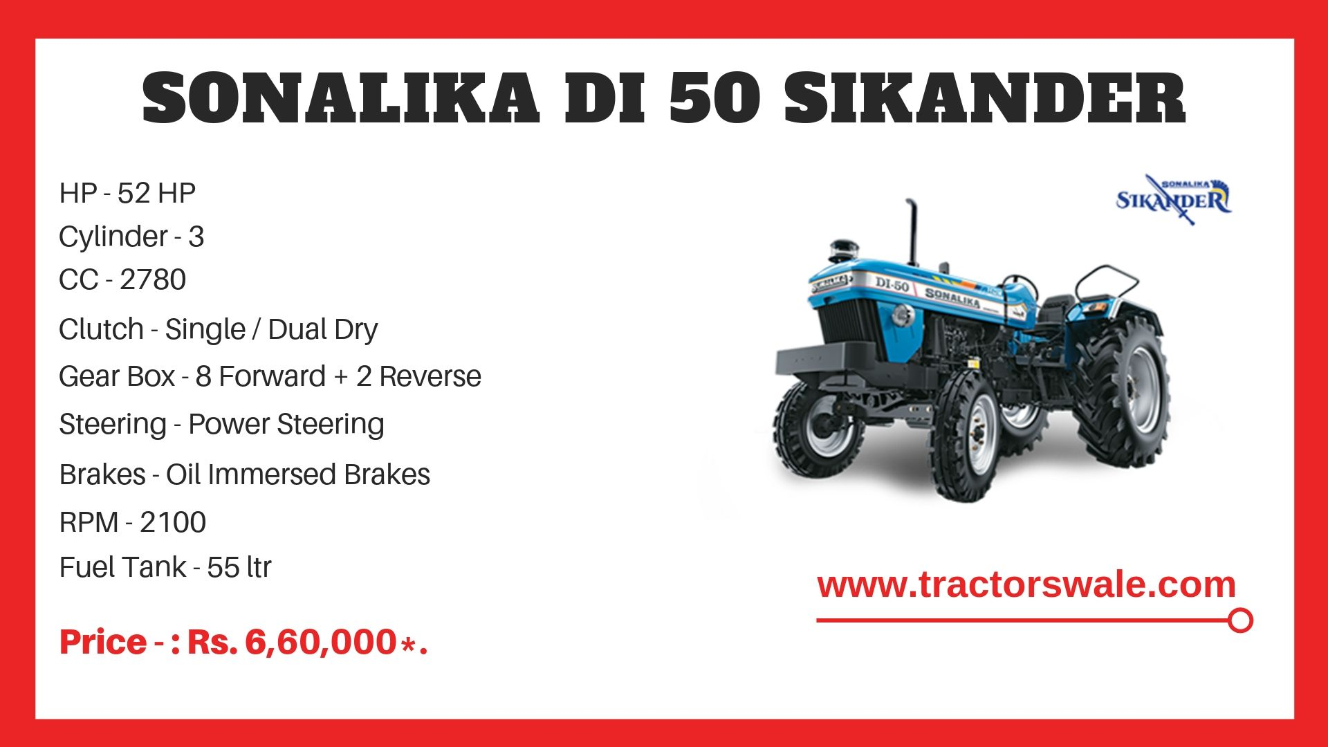 Sonalika DI 50 SIKANDER Tractor specs