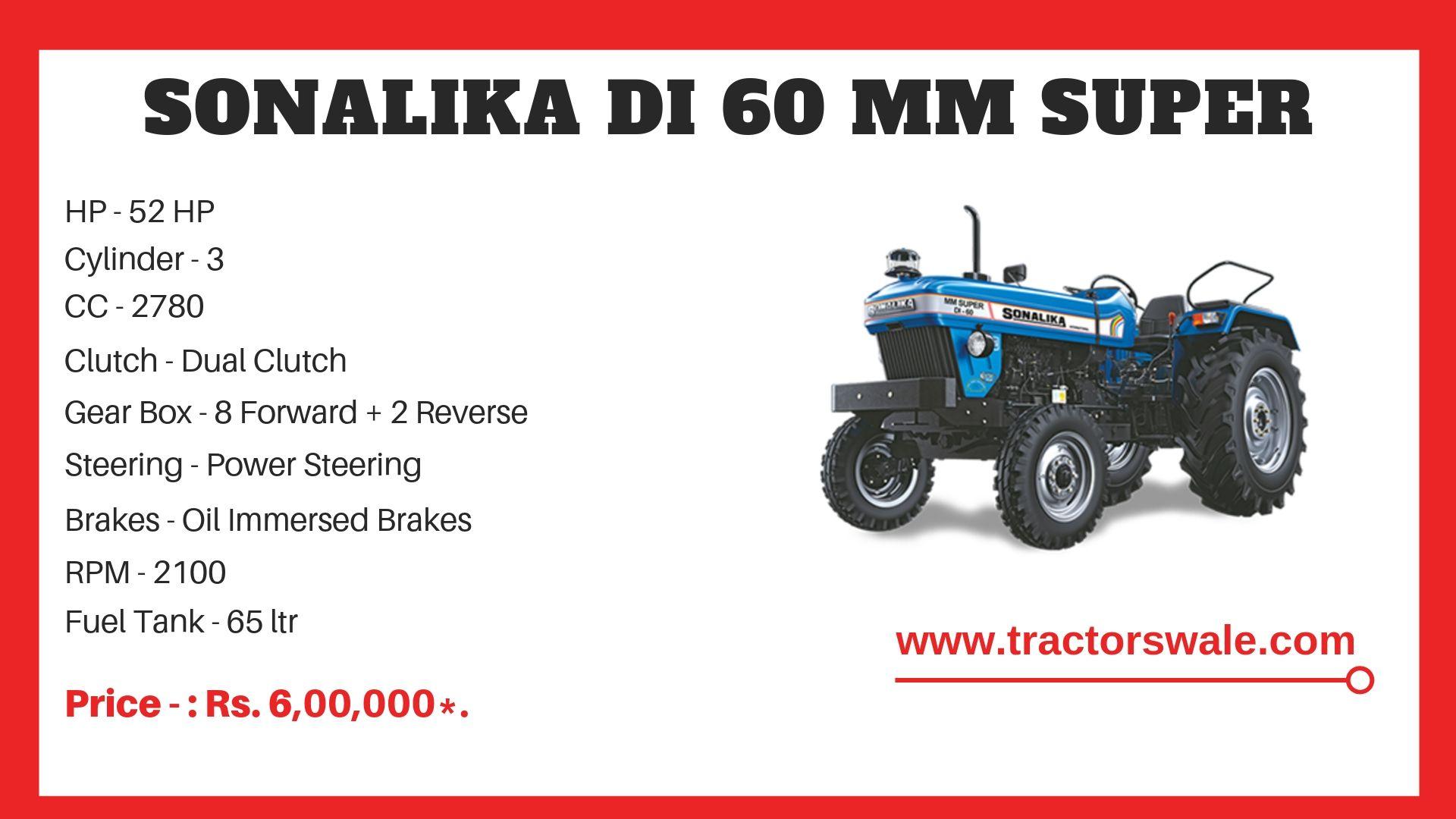 Sonalika DI 60 MM SUPER Tractor specs