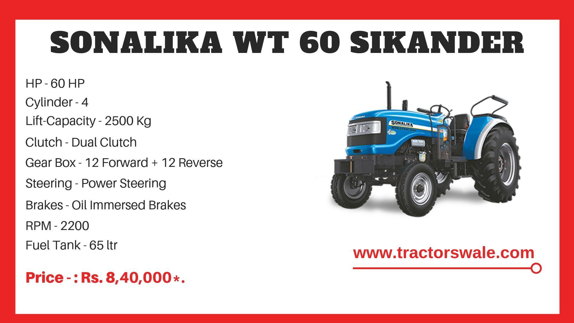 Sonalika WT 60 SIKANDER tractor specs