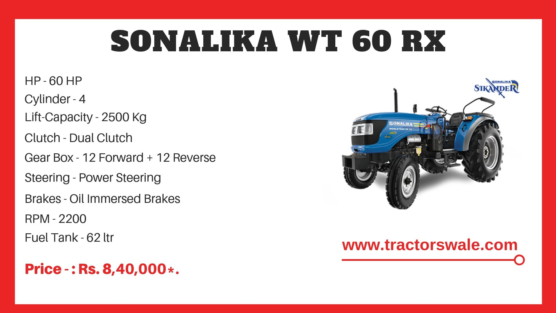 Sonalika WT 60 tractor price
